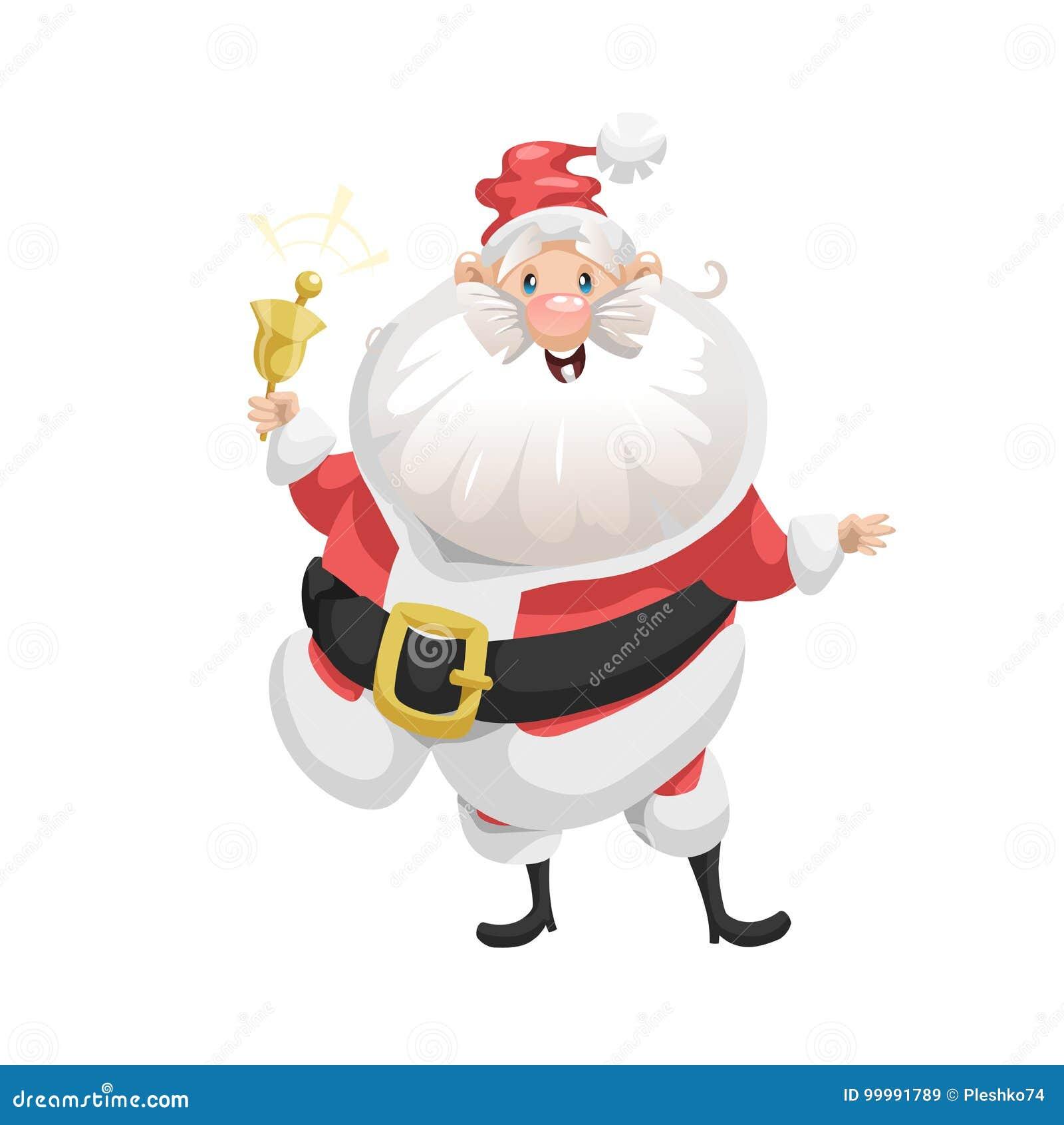 Śmieszny kreskówka styl uśmiecha się Święty Mikołaj z ringową dzwonkowego charakteru ikoną Emoci ilustracja Bożenarodzeniowy sezo