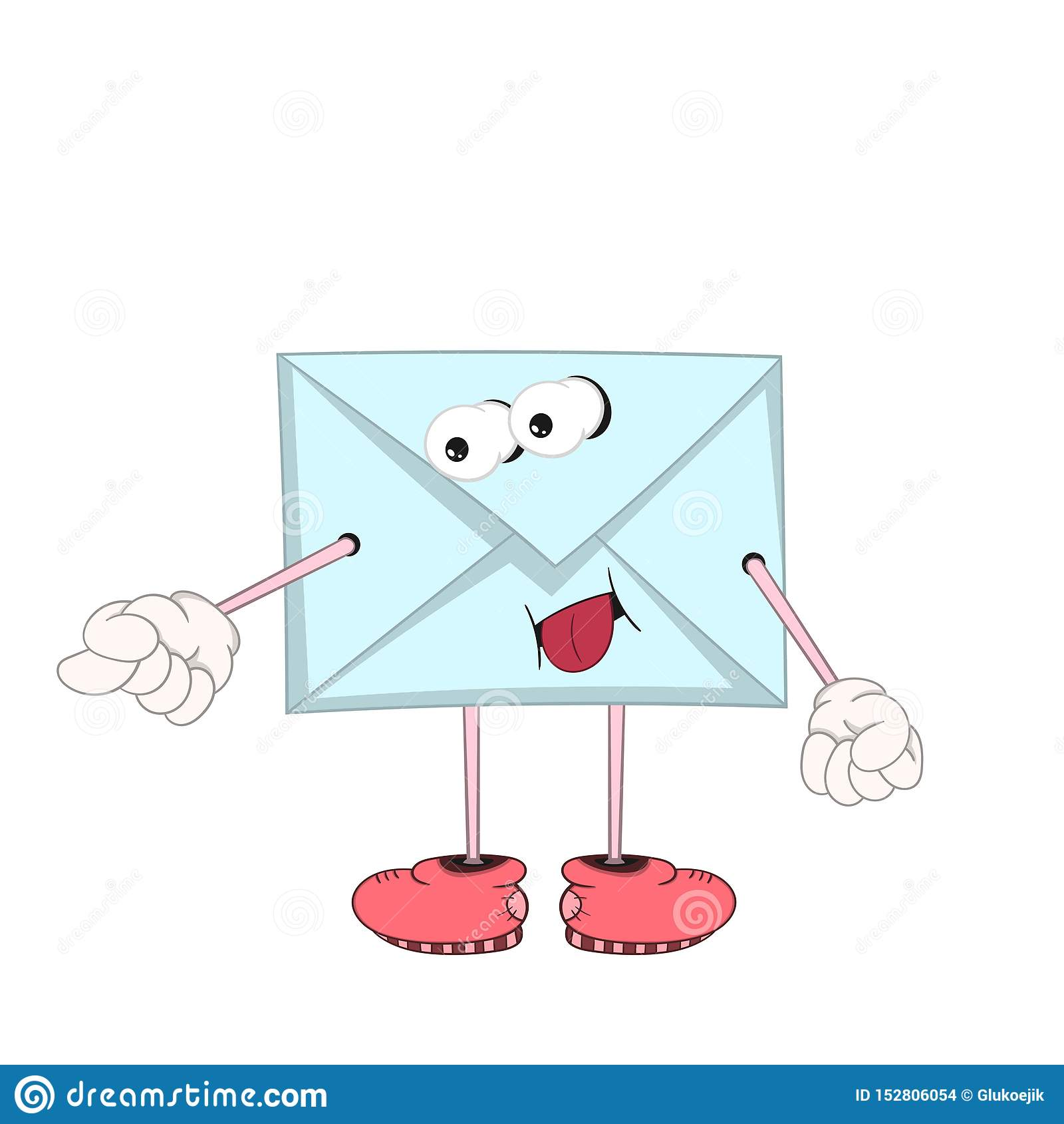 Śmieszny kreskówki błękita list z oczami, rękami i nogami w butach, dokucza jęzor i pokazuje