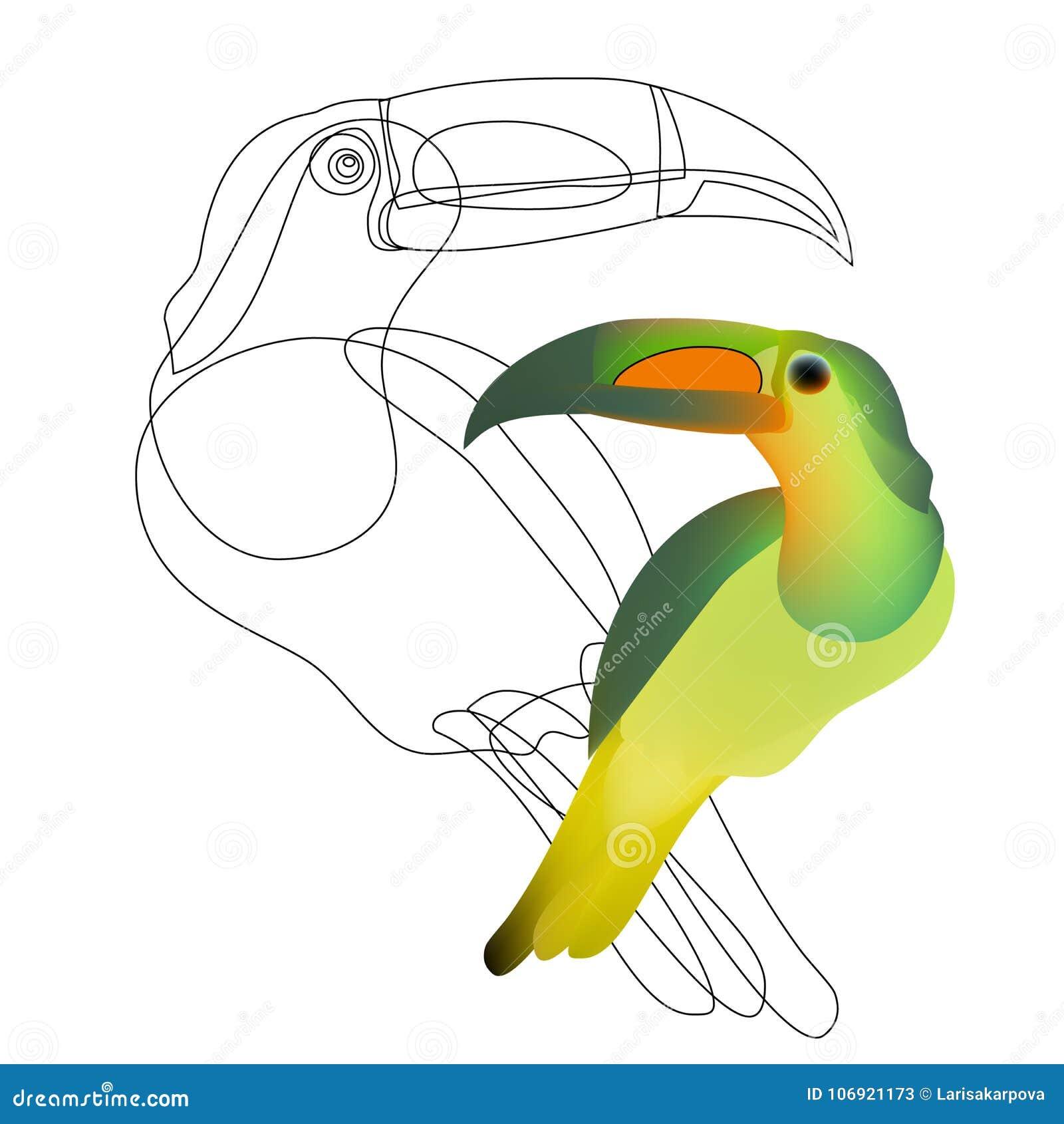 Śmieszny kreskówki tęczy pieprzojada ptak z Złotymi skrzydłami