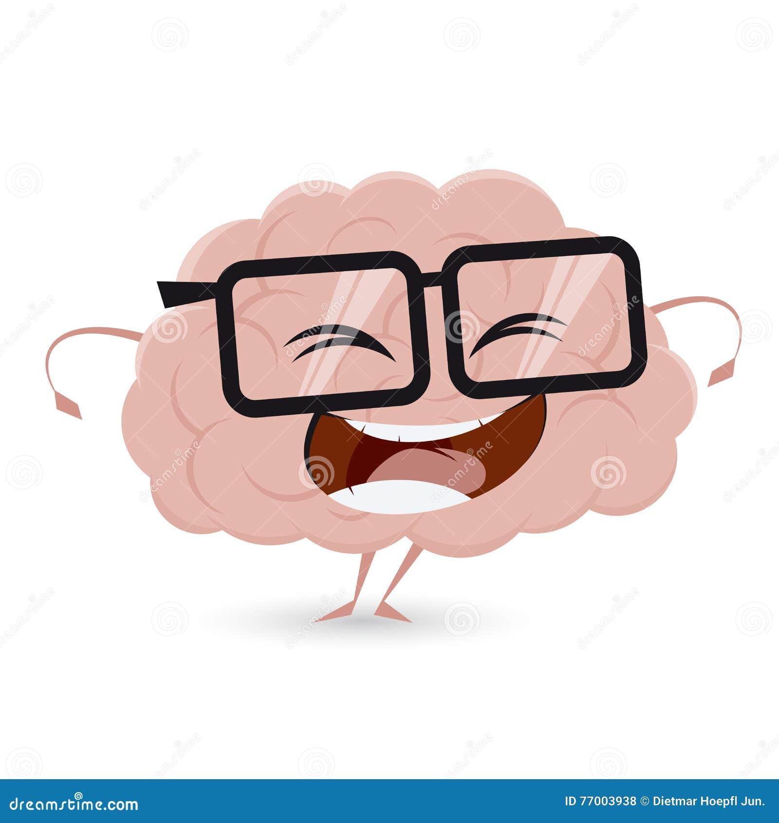 Śmieszny mózg z głupków szkłami