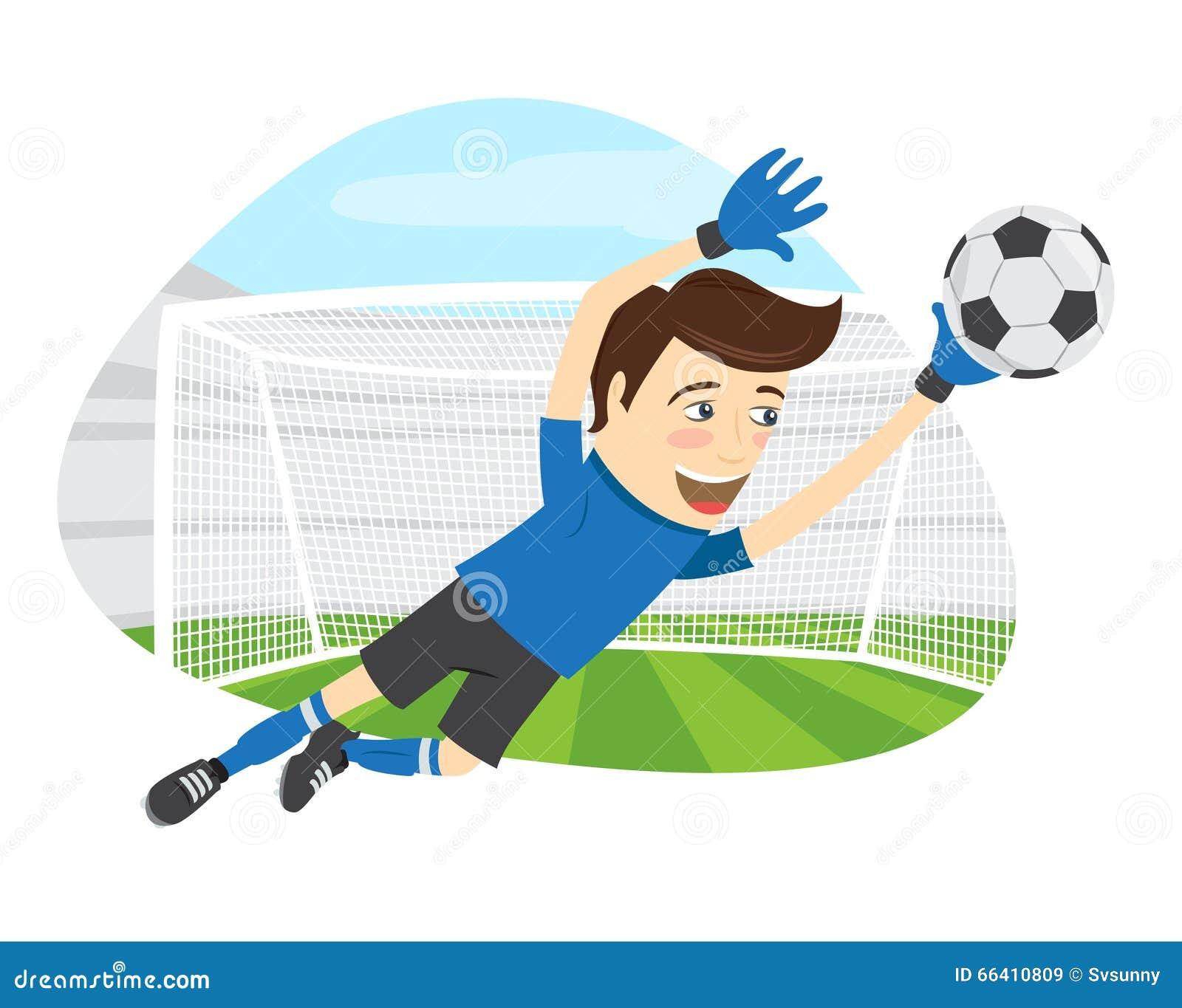 Śmieszny piłka nożna gracza futbolu bramkarz jest ubranym błękitnego koszulki jum