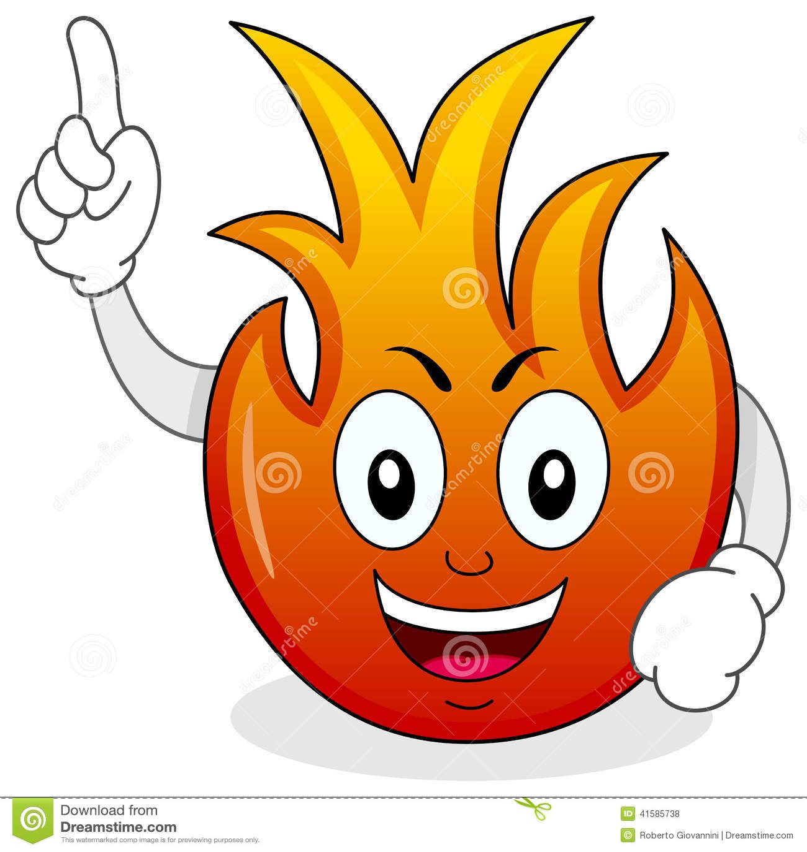 Śmieszny Pożarniczy płomienia postać z kreskówki