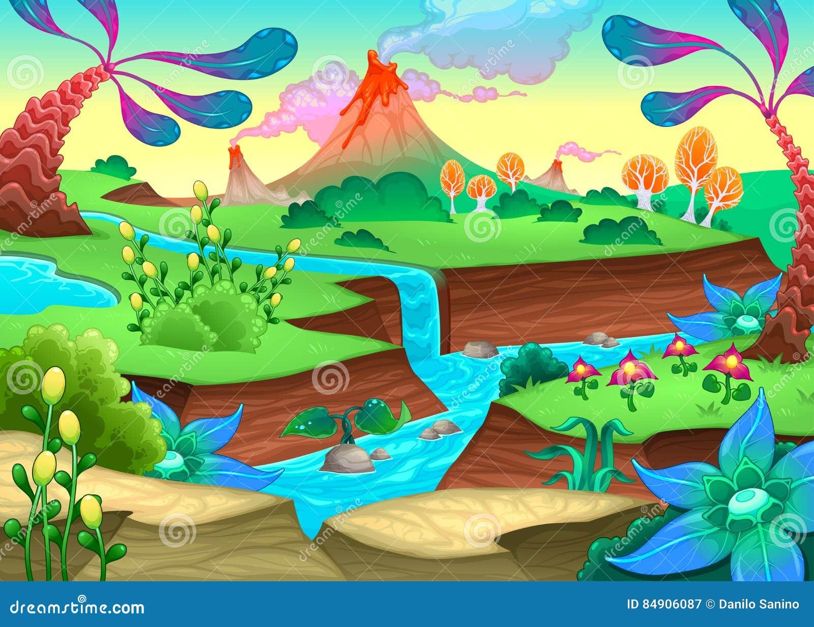 Śmieszny prehistoryczny krajobraz z rzeką i volcanoes