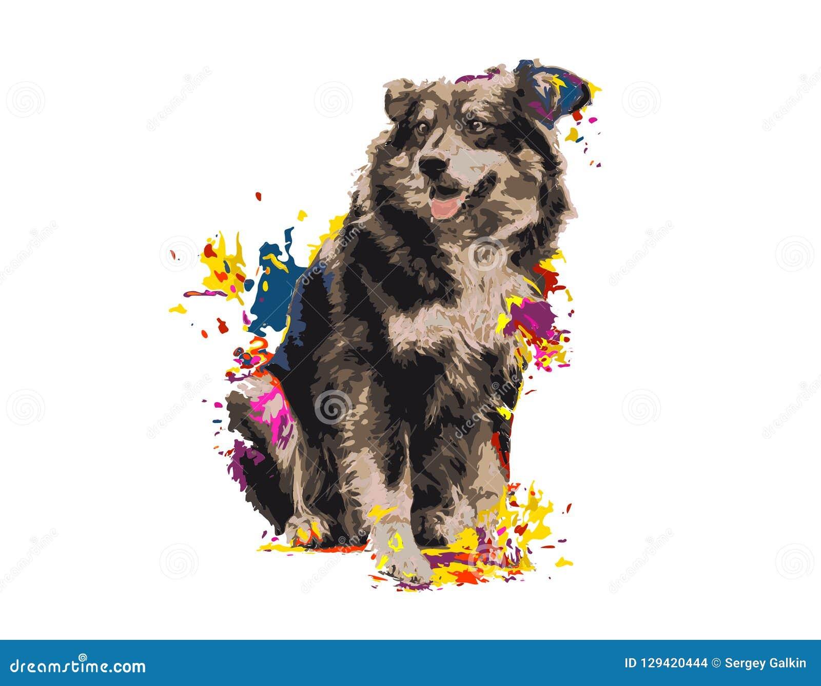 Śmieszny psi radosny, farb plamy