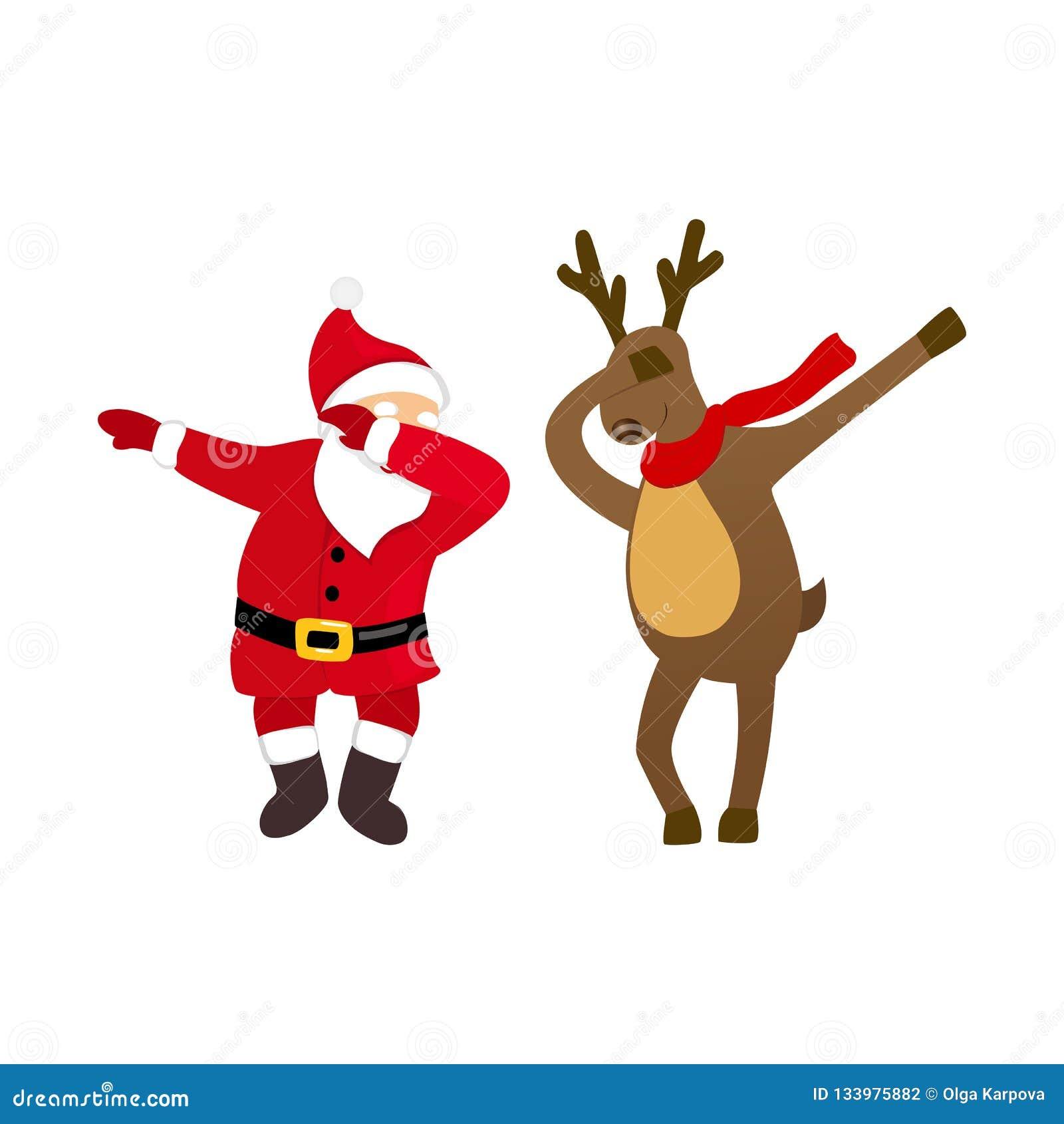 Śmieszny Santa i jelenia dancingowa odrobina ruszamy się, dziwacznej kreskówki komiczni charaktery