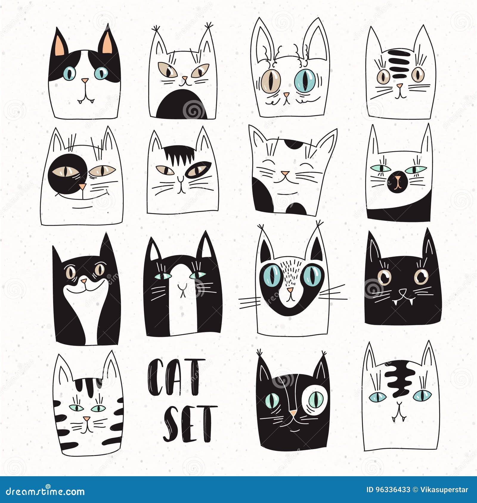 Śmieszny set wektorowi koty