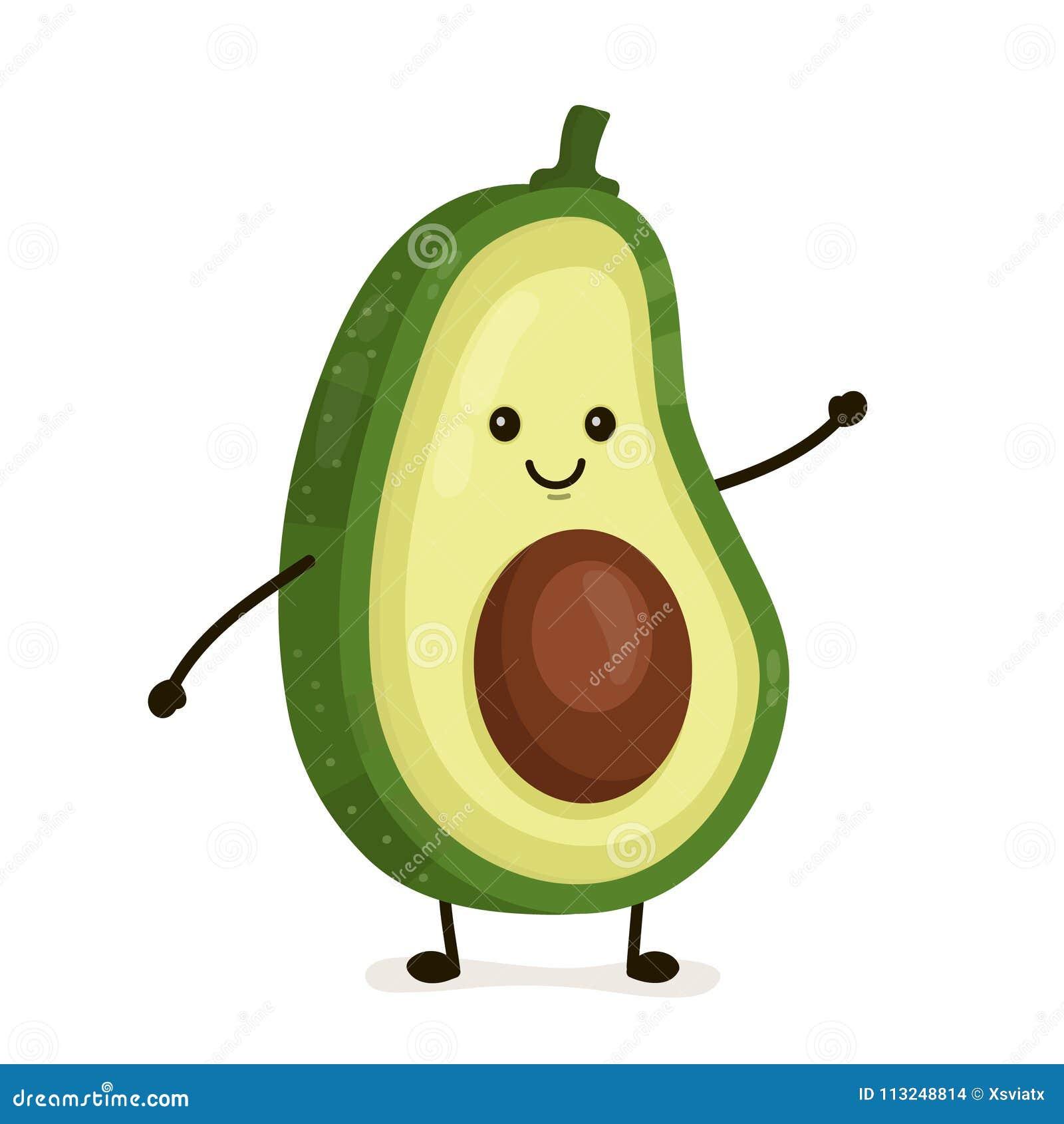 Śmieszny szczęśliwy śliczny szczęśliwy uśmiechnięty avocado