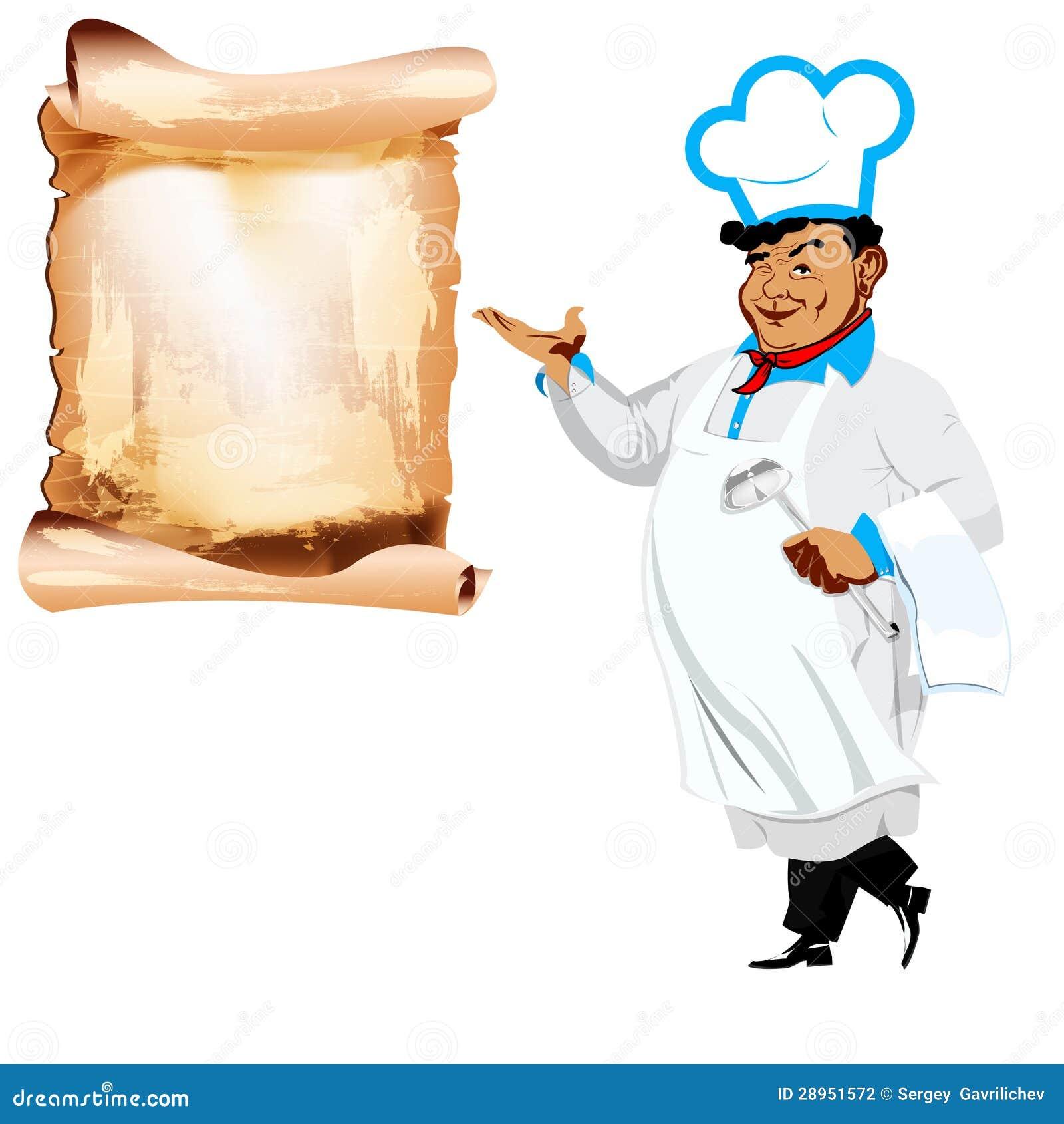Śmieszny szczęśliwy szef kuchni i menu