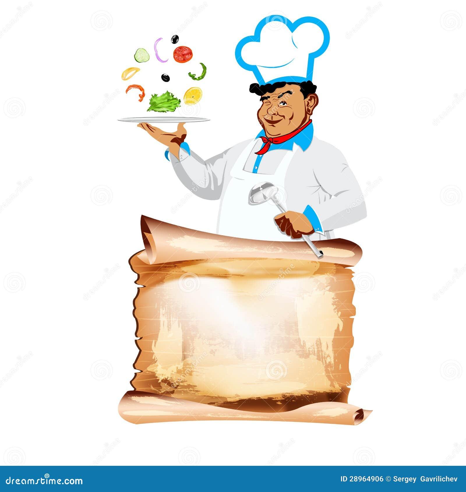 Śmieszny szczęśliwy szefa kuchni i jarosza warzywa menu