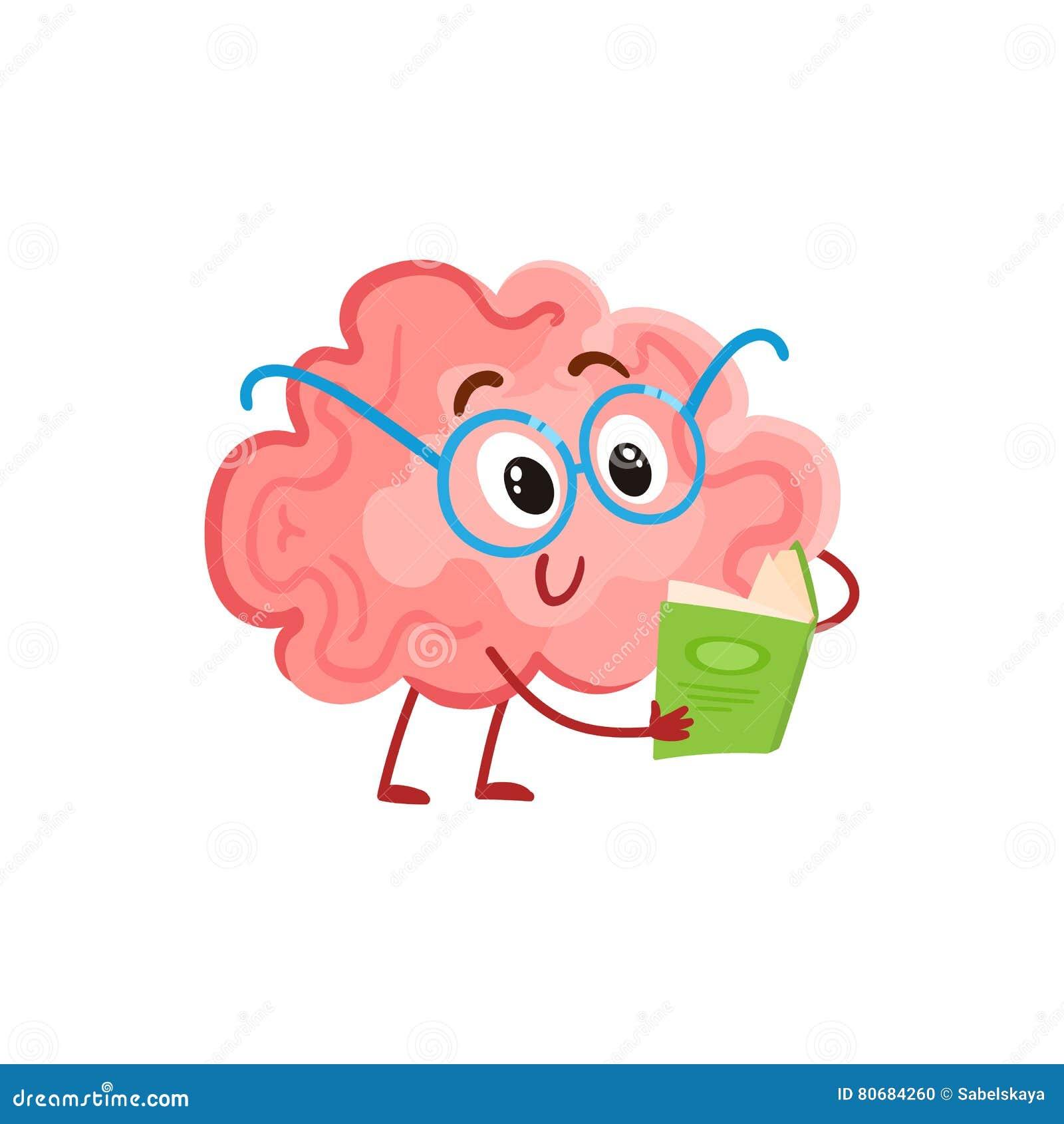 Śmieszny uśmiechnięty mózg w round szkłach czyta książkę