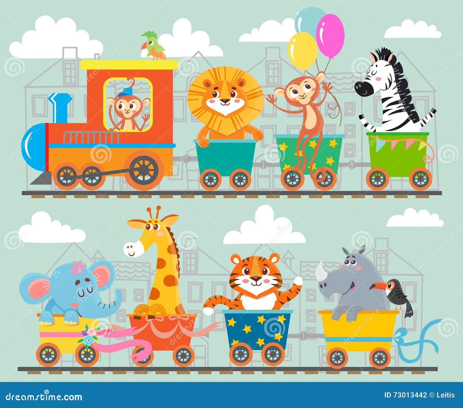 Śmieszny zwierzę na pociągu