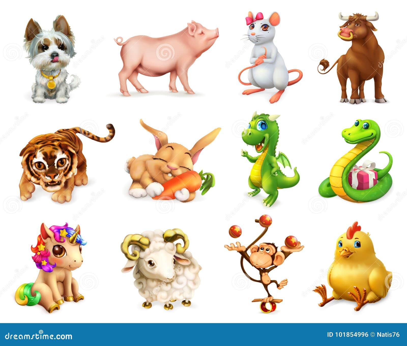 Śmieszny zwierzę w Chińskim zodiaku, chińczyka kalendarz kartonowe koloru ikony ustawiać oznaczają wektor trzy