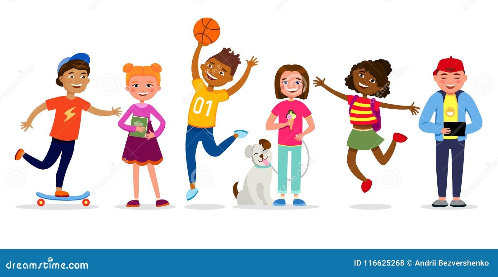Śmiesznych dzieci postać z kreskówki wektorowa ilustracja w płaskim projekcie Dziewczyny i chłopiec robi aktywność, odprowadzenie