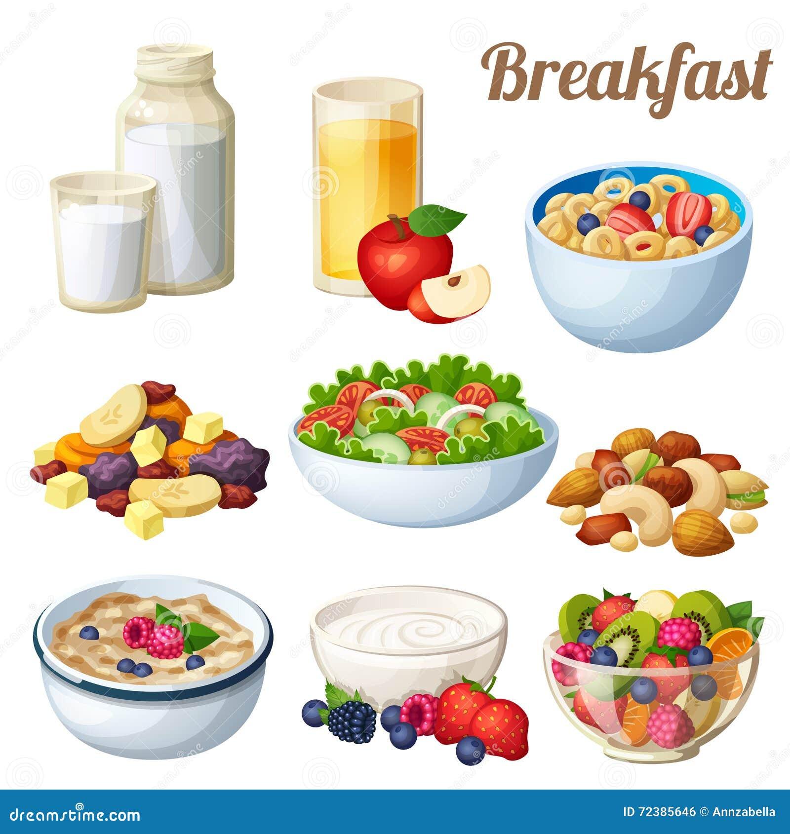 2 śniadanie Set kreskówek wektorowe karmowe ikony odizolowywać na białym tle