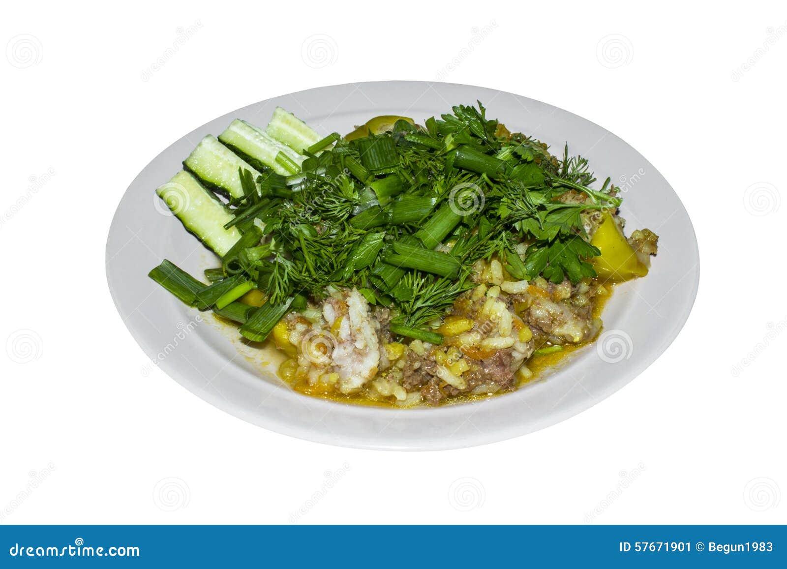 Śniadanie smażący ryż z zieleniami