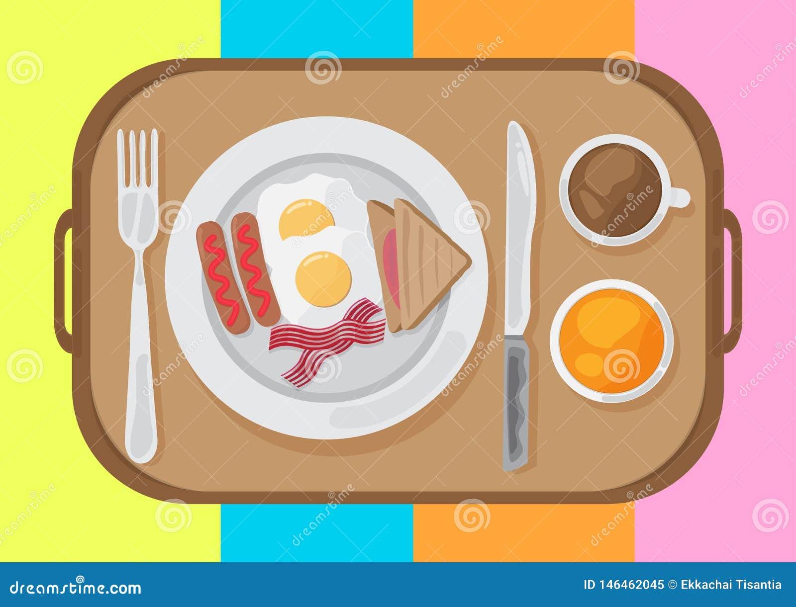 Śniadanie ustalonego płaskiego projekta odgórny widok wektor ilustracja