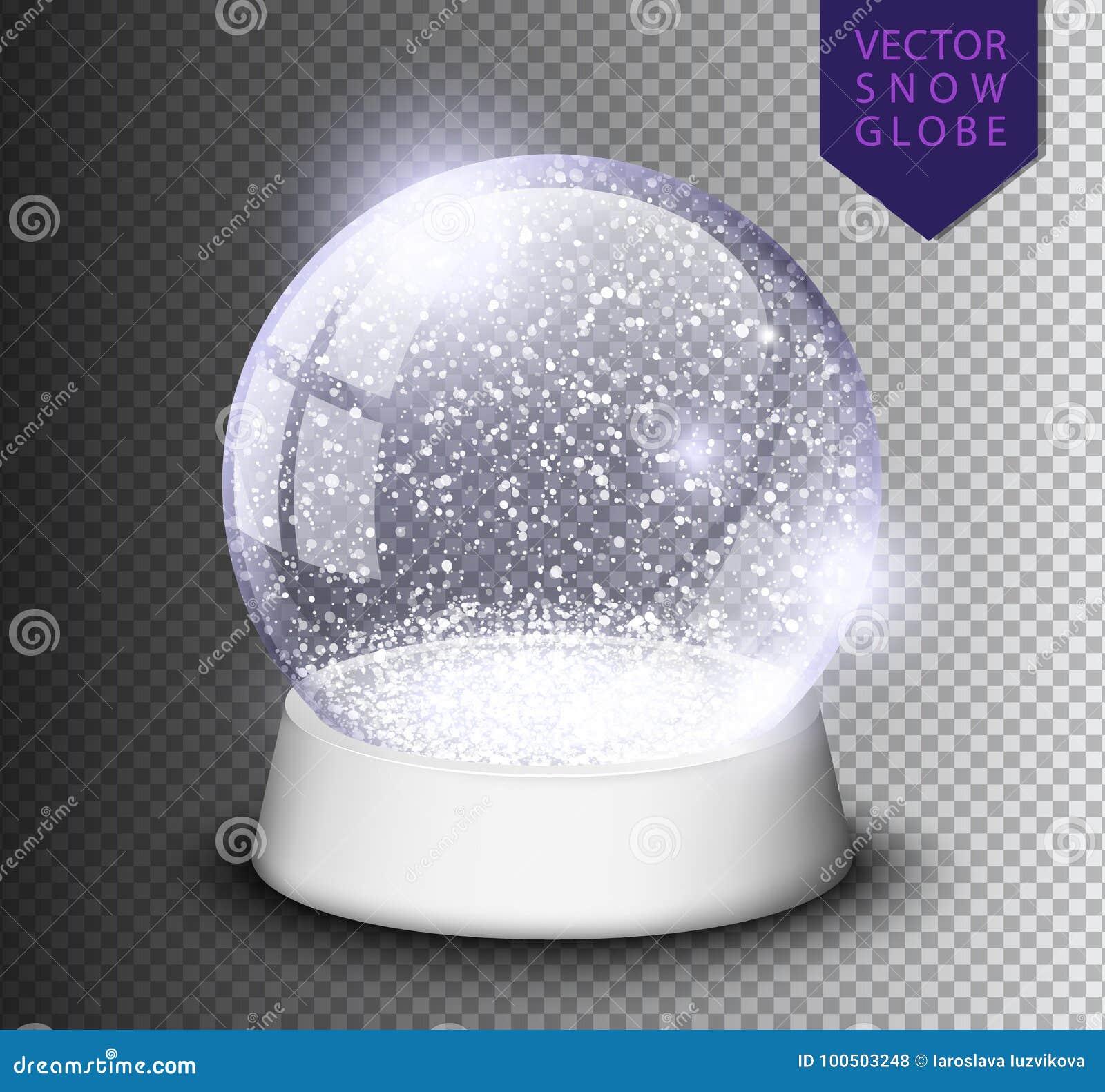 Śnieżna kula ziemska odizolowywający szablon pusty na przejrzystym tle Bożenarodzeniowa magiczna piłka Realistyczna Xmas snowglob