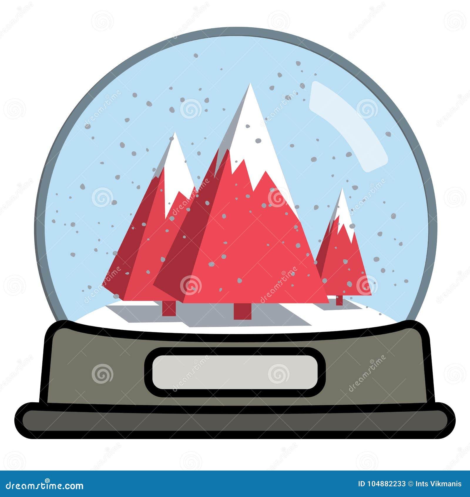 Śnieżna kula ziemska z trzy choinkami