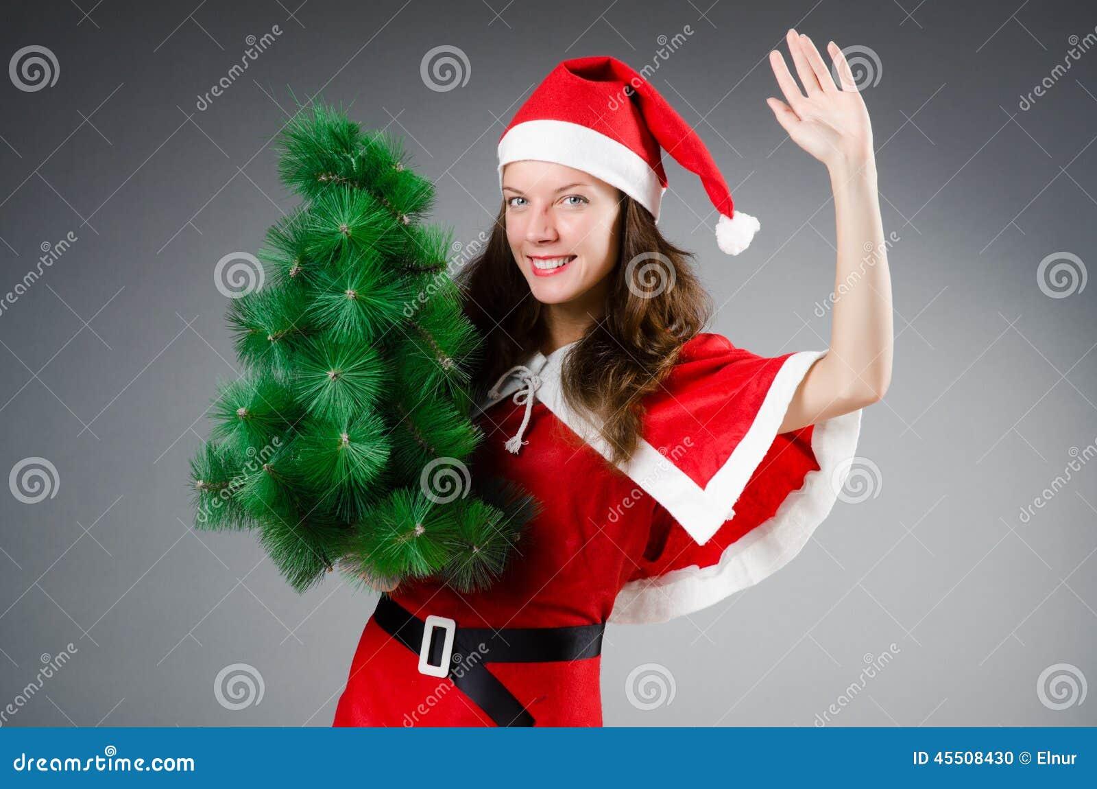 Śnieżna Santa dziewczyna w bożych narodzeniach