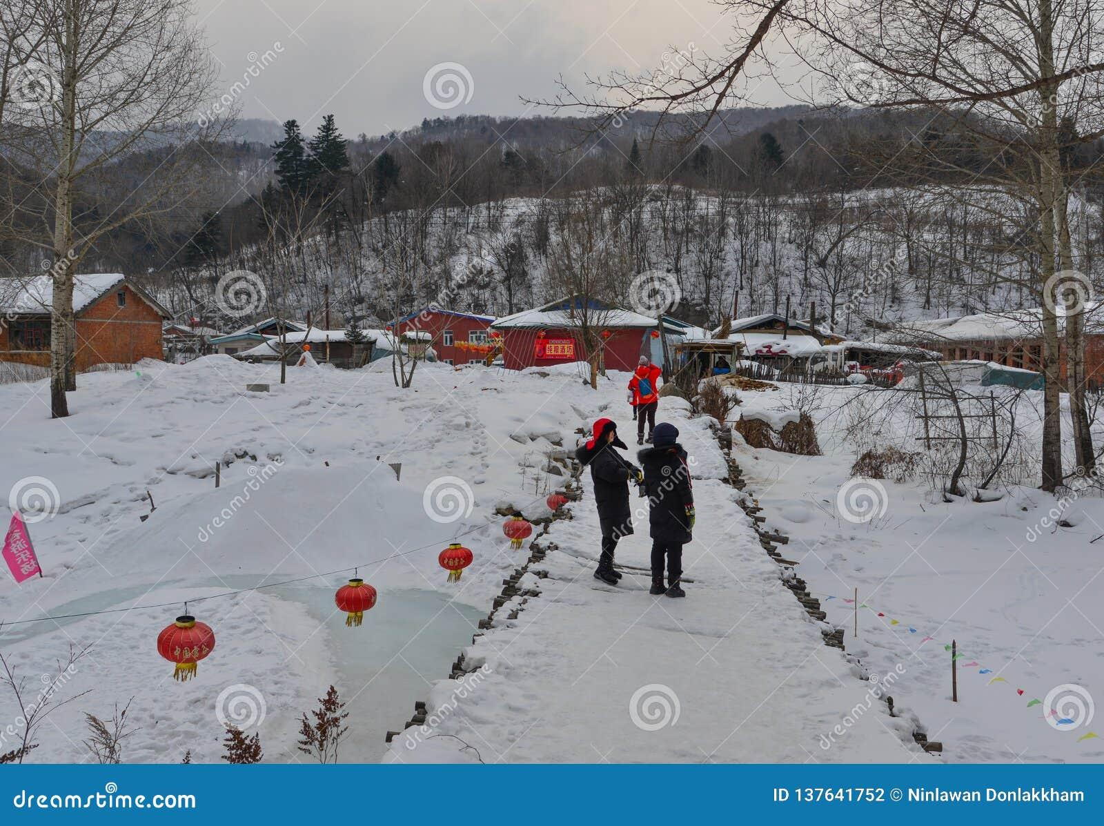 Śnieżna wioska w Mohe okręgu administracyjnym, Chiny
