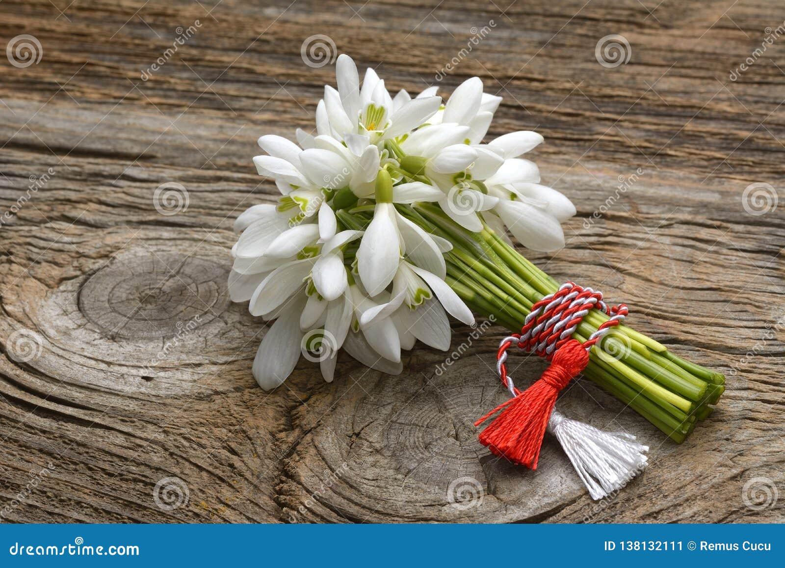 Śnieżyczki, 1st Marcowa tradycja biała i czerwony sznura martisor odizolowywający na drewnianym tle,