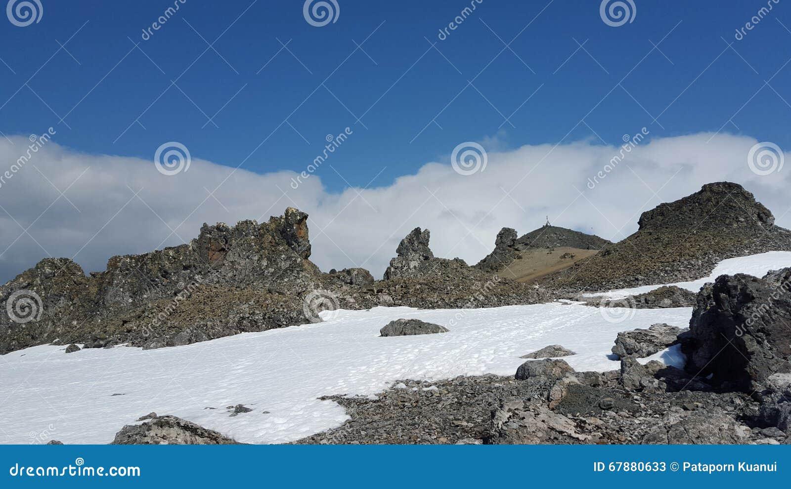 Śnieg, góra i niebo,