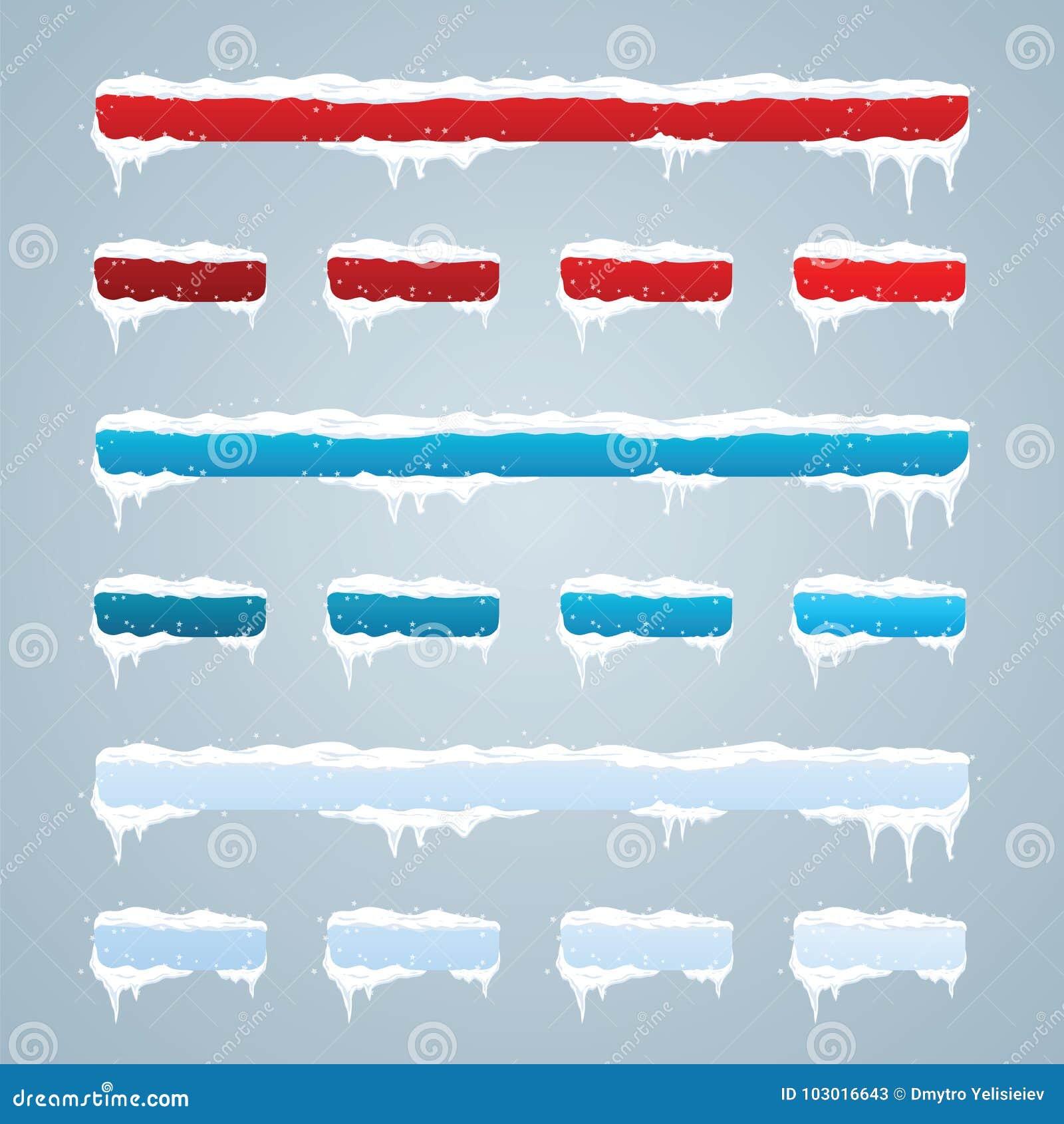 Śnieg nakrętki na menu guzikach i barze Nowy rok dekoracja ustawiająca dla w