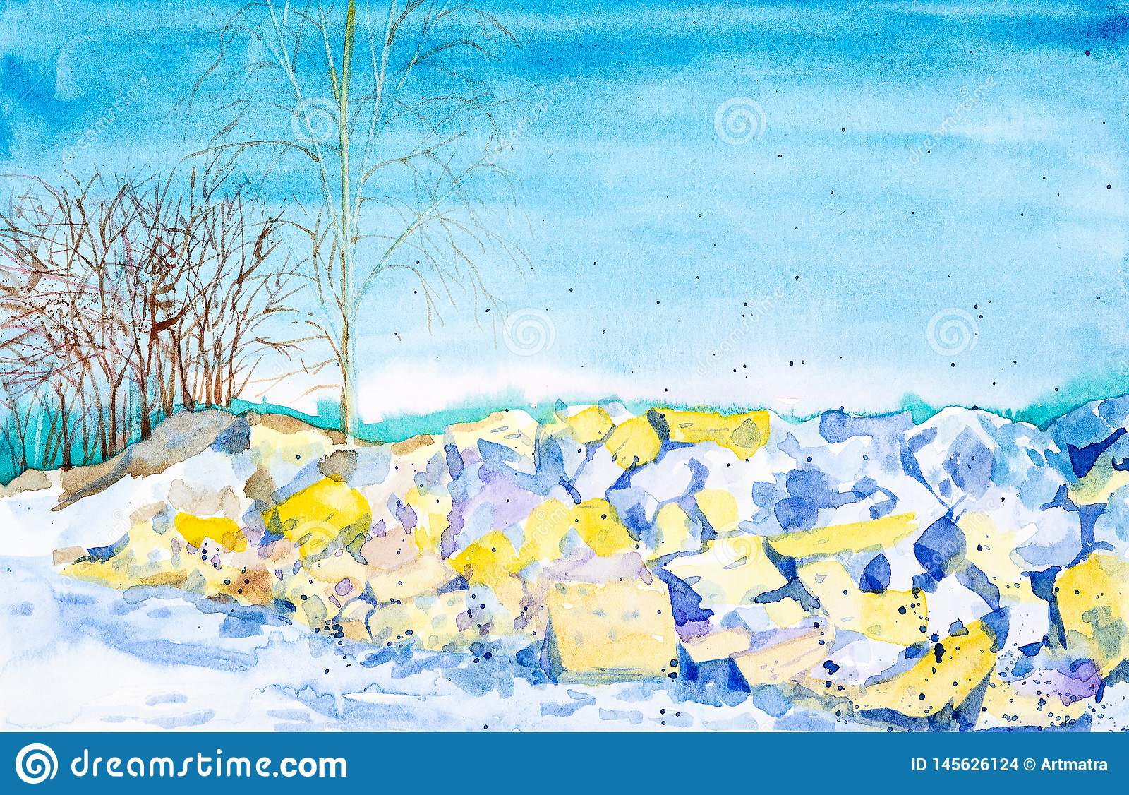 ?nieg topi na ska?ach w wio?nie w?r?d drzew i lesie w tle Akwareli ilustracja odizolowywaj?ca na bielu