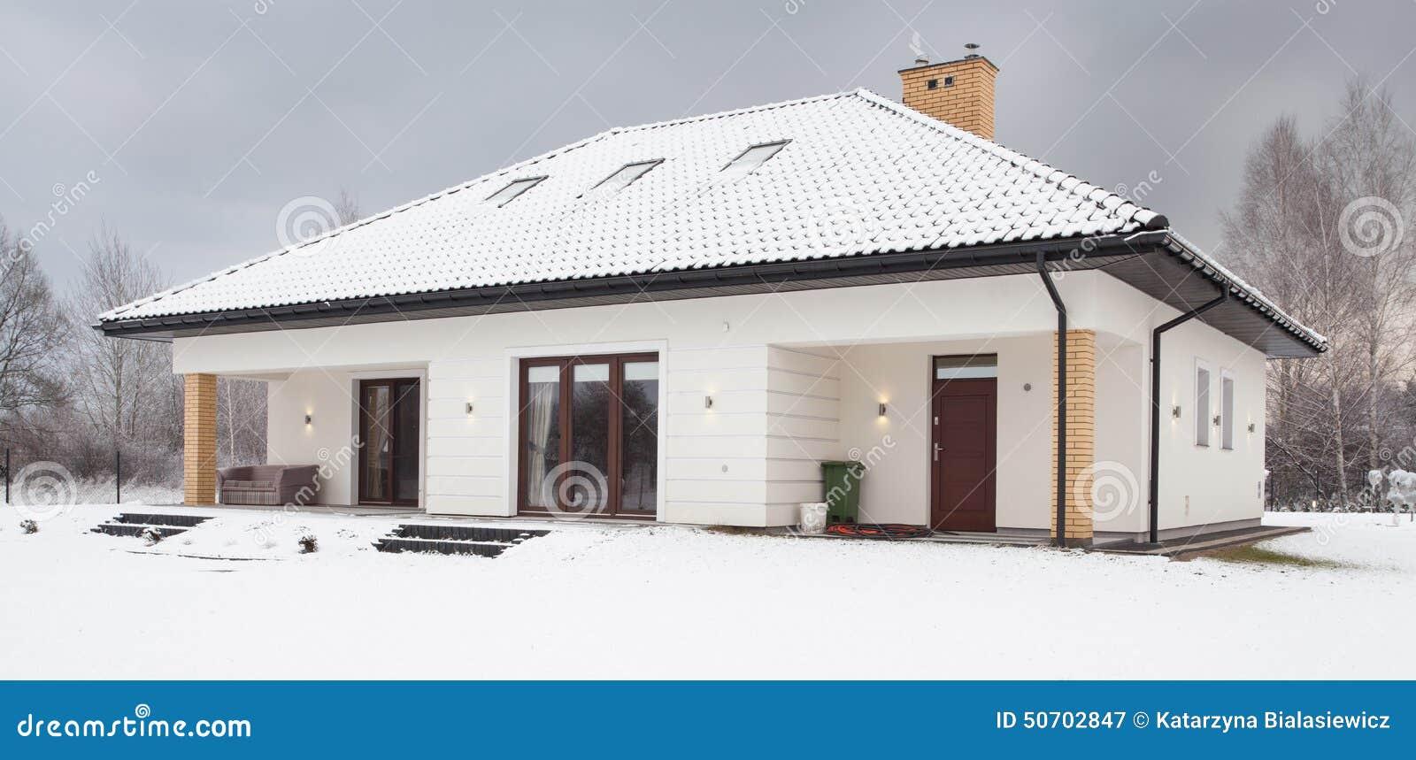 Śnieg zakrywający pojedynczy rodzina dom