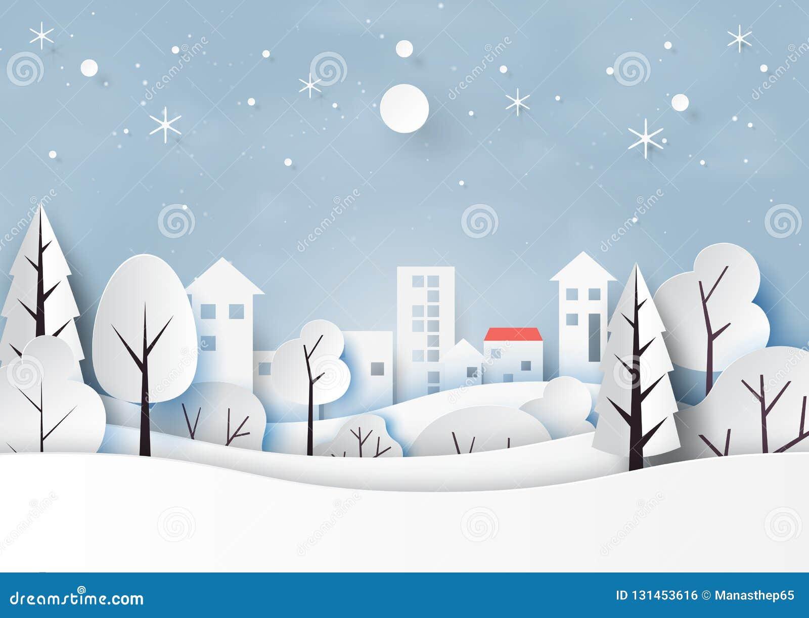 Śnieg, zima sezon z i szczęśliwa nowego roku papieru sztuka natury wieś dla wesoło bożych narodzeń i krajobrazem projektujemy wek