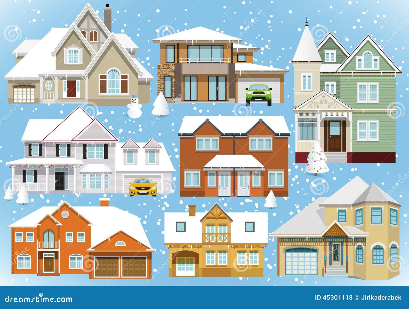 Śniegi zakrywający miasto domy (boże narodzenia)