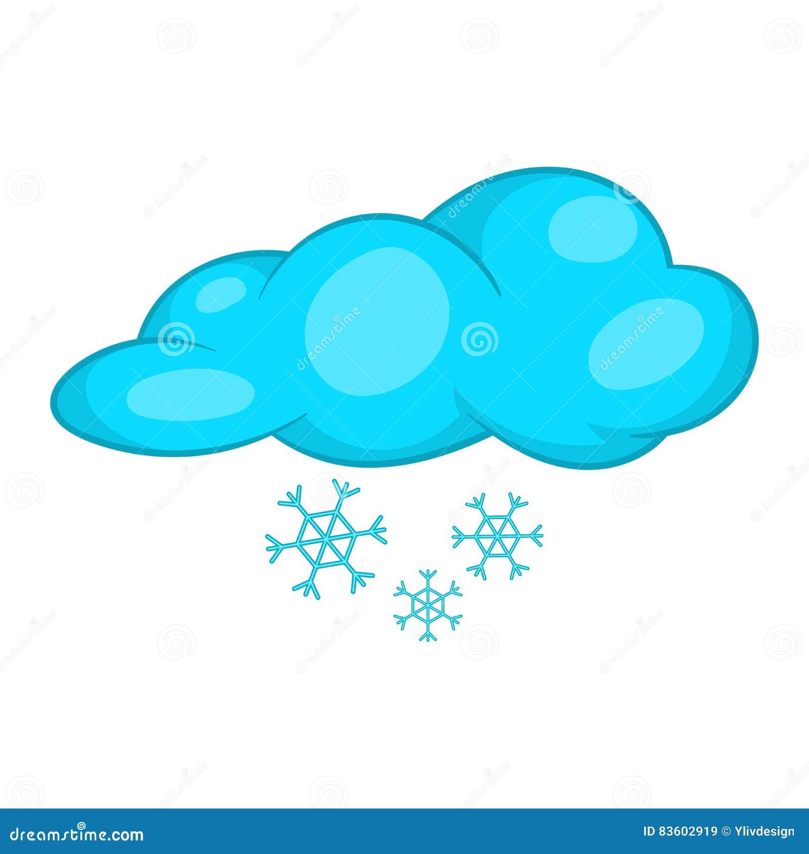 Śniegu I Chmury Ikona, Kreskówka Styl Ilustracja Wektor ...