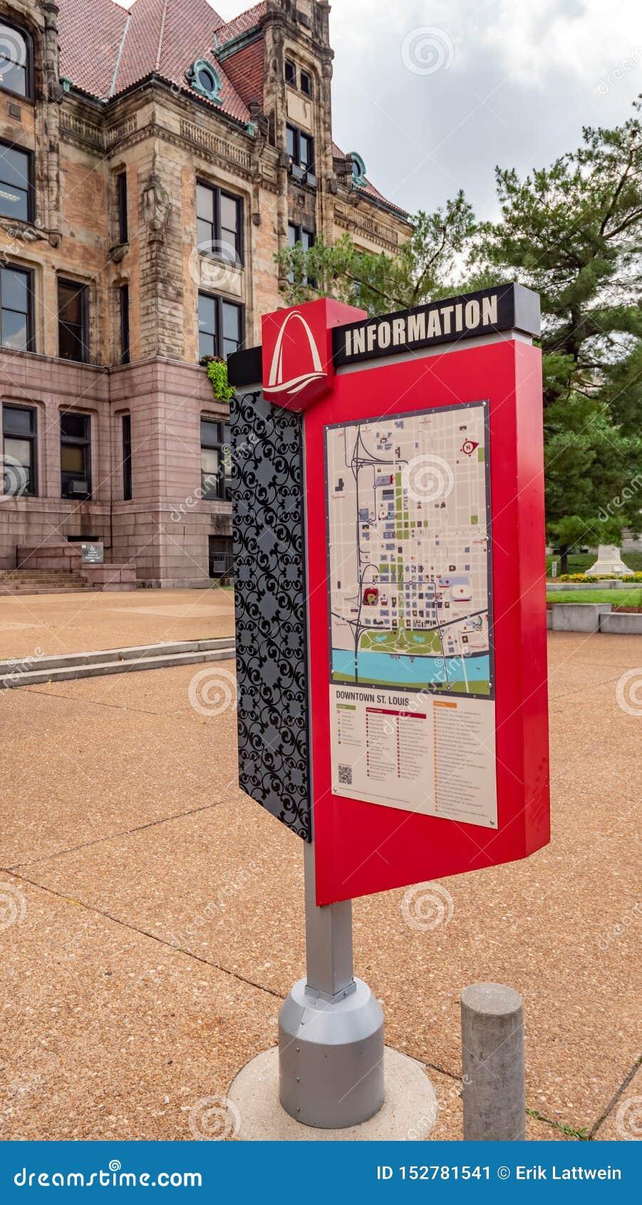 Śródmieścia St Louis ewidencyjna mapa - ST LOUIS, usa - CZERWIEC 19, 2019