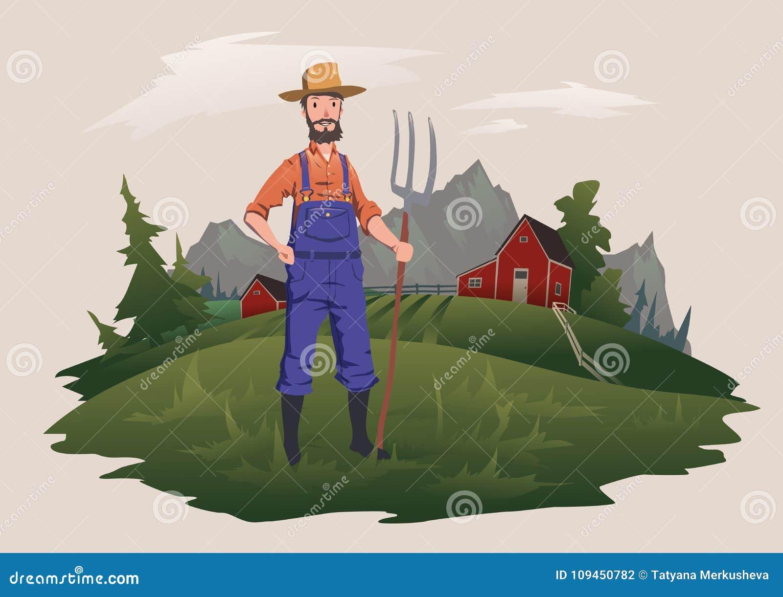 Średniorolna pozycja z pitchfork na gospodarstwie rolnym Halny wiejski krajobraz w tle Ranchman charakter, wektor