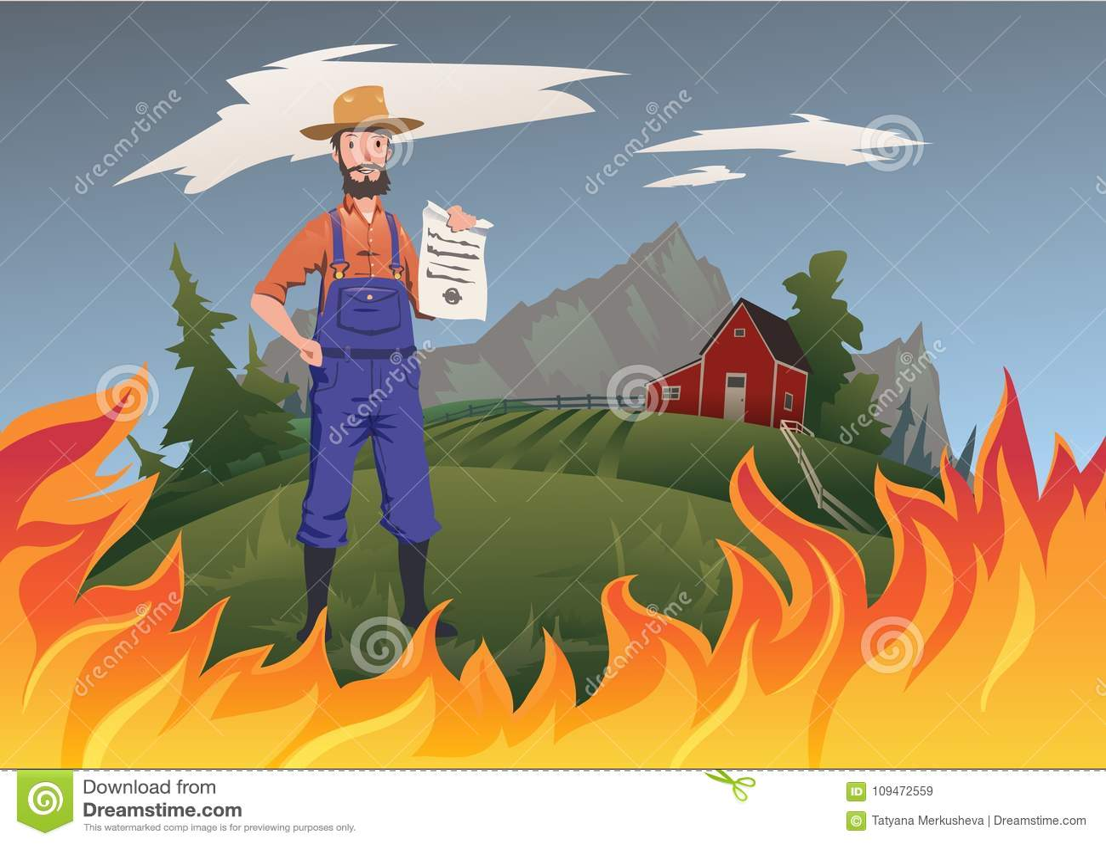Średniorolny ` s asekuracyjny pojęcie, wektorowa ilustracja Ogień na gospodarstwie rolnym Spokojny rolnik stoi ubezpieczenie w je