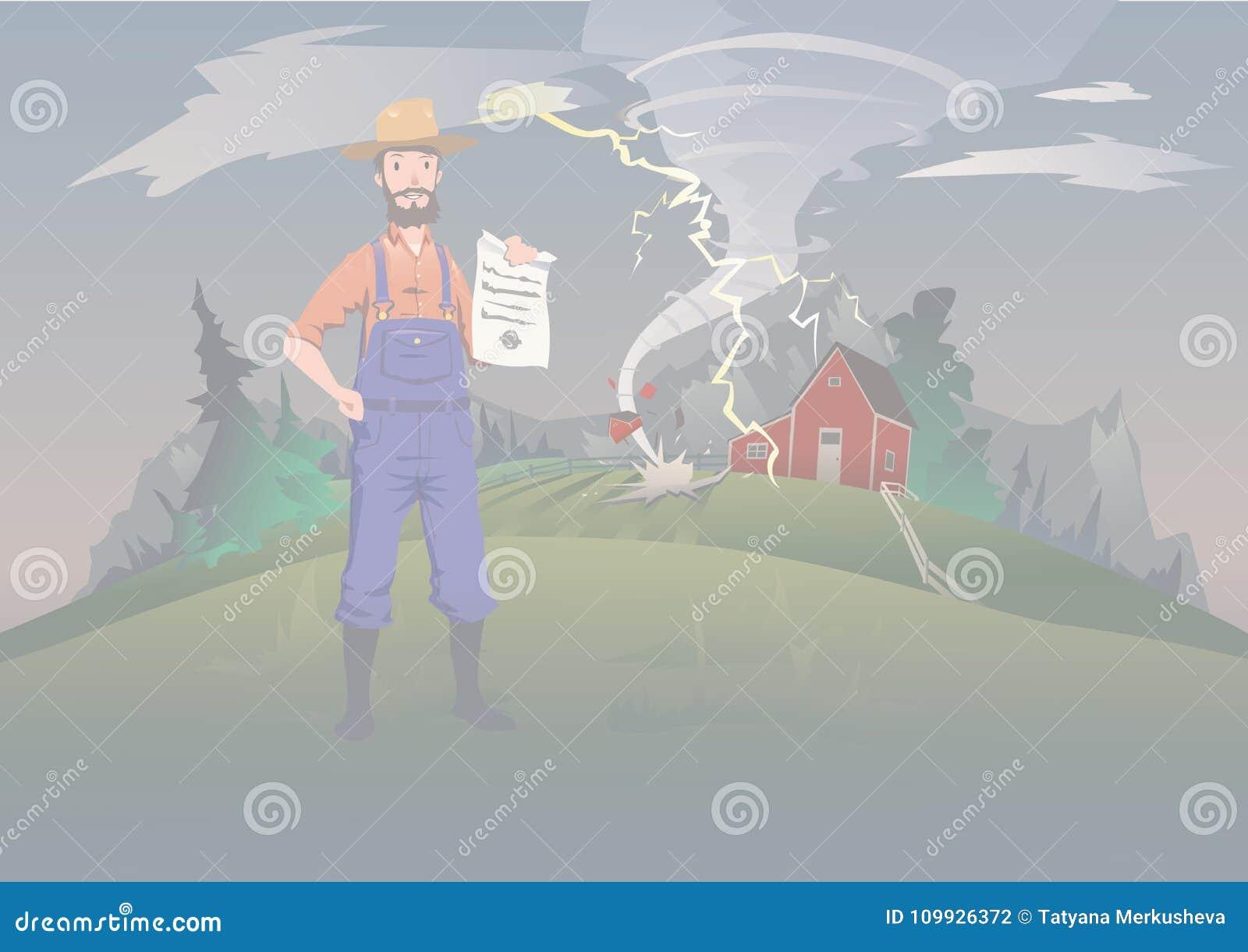 Średniorolny ` s asekuracyjny pojęcie, wektorowa ilustracja Tornado na gospodarstwie rolnym Spokojny rolnik stoi ubezpieczenie we