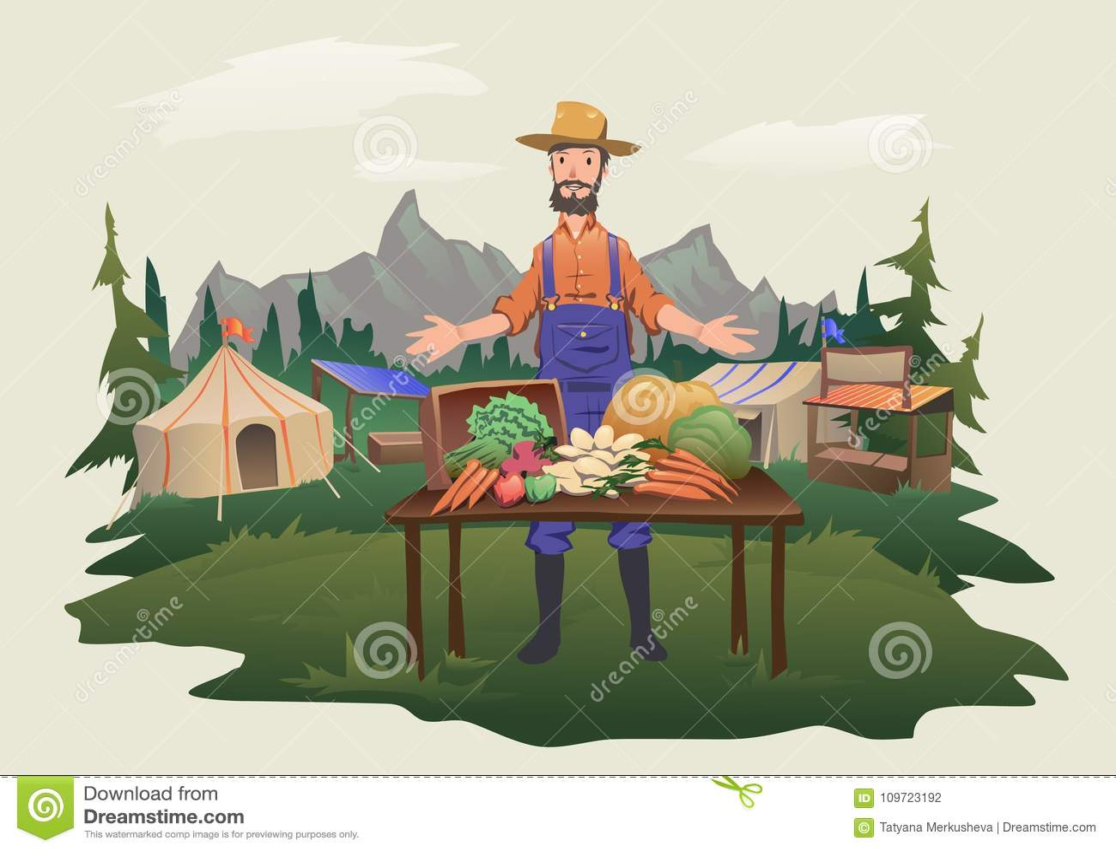 Średniorolny ` s rynek, wioska jarmark Mężczyzna pozycja za kontuarem z warzywami r na gospodarstwie rolnym Odosobniony wektor
