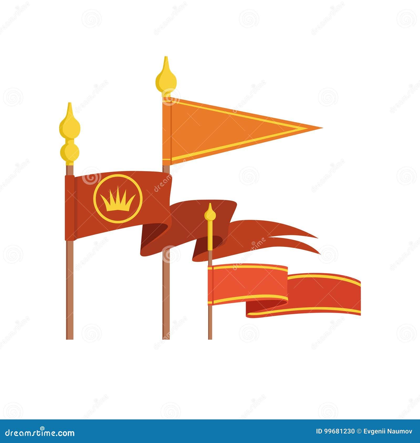 Średniowiecznej królewskiej flaga ustalone kolorowe wektorowe ilustracje