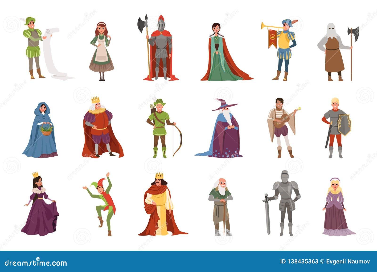 Średniowieczni ludzie charakterów ustawiają, Europejskie wieka średniego historycznego okresu elementów wektoru ilustracje