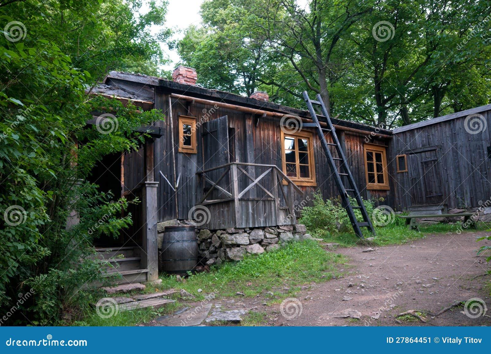 Średniowieczny drewniany dom