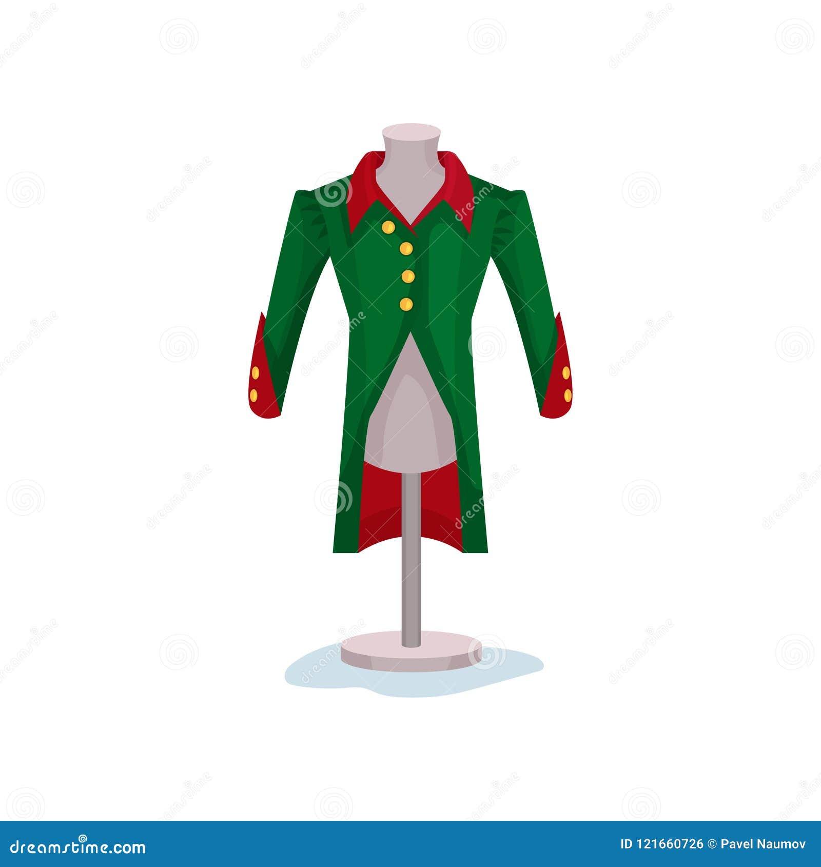 Średniowieczny mężczyzna s żakiet na mannequin Zielona kurtka z złotymi guzikami Muzealny eksponat Męska moda wiktoriański era mi