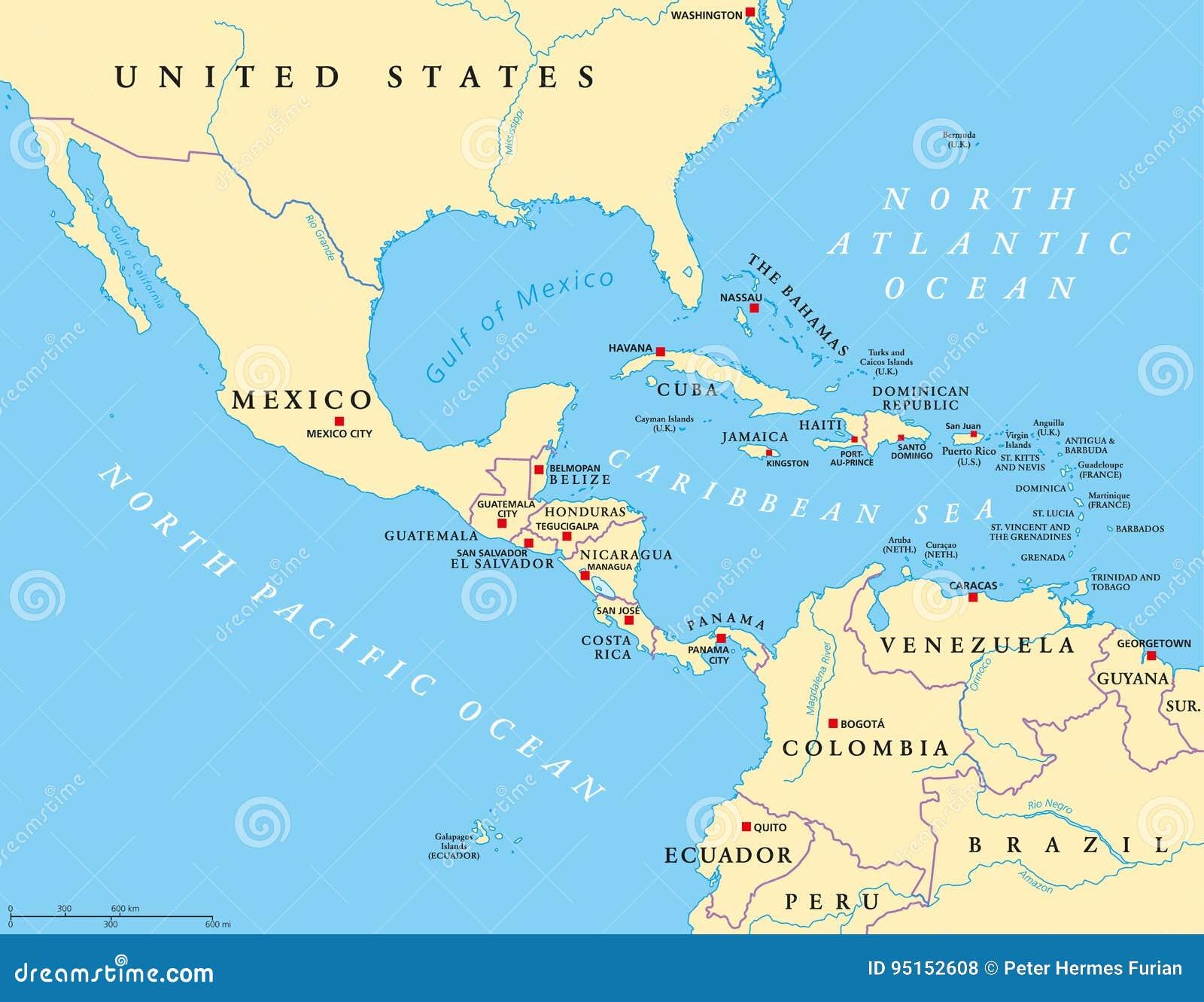 Srodkowa Ameryka Polityczna Mapa Ilustracja Wektor Ilustracja
