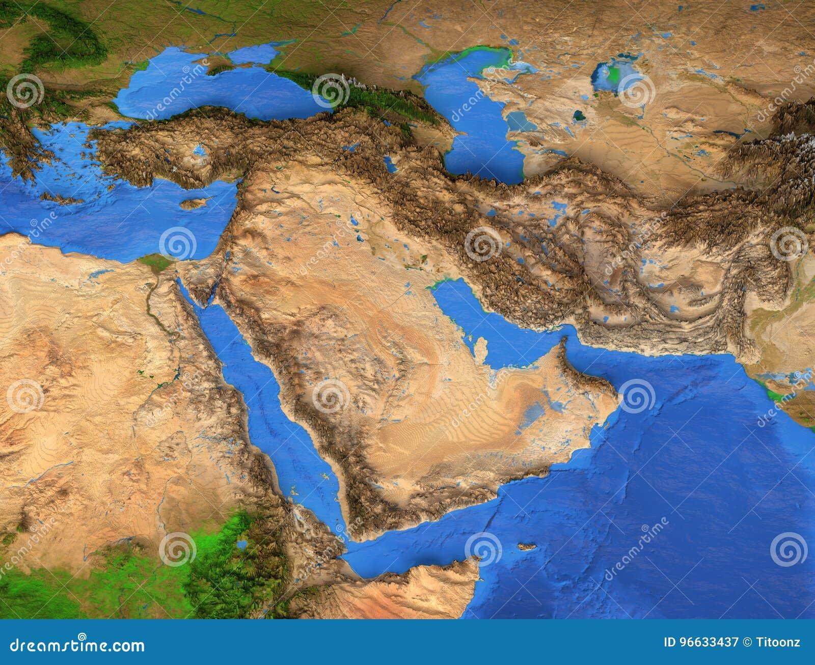Środkowy Wschód - Wysoka rozdzielczość mapa