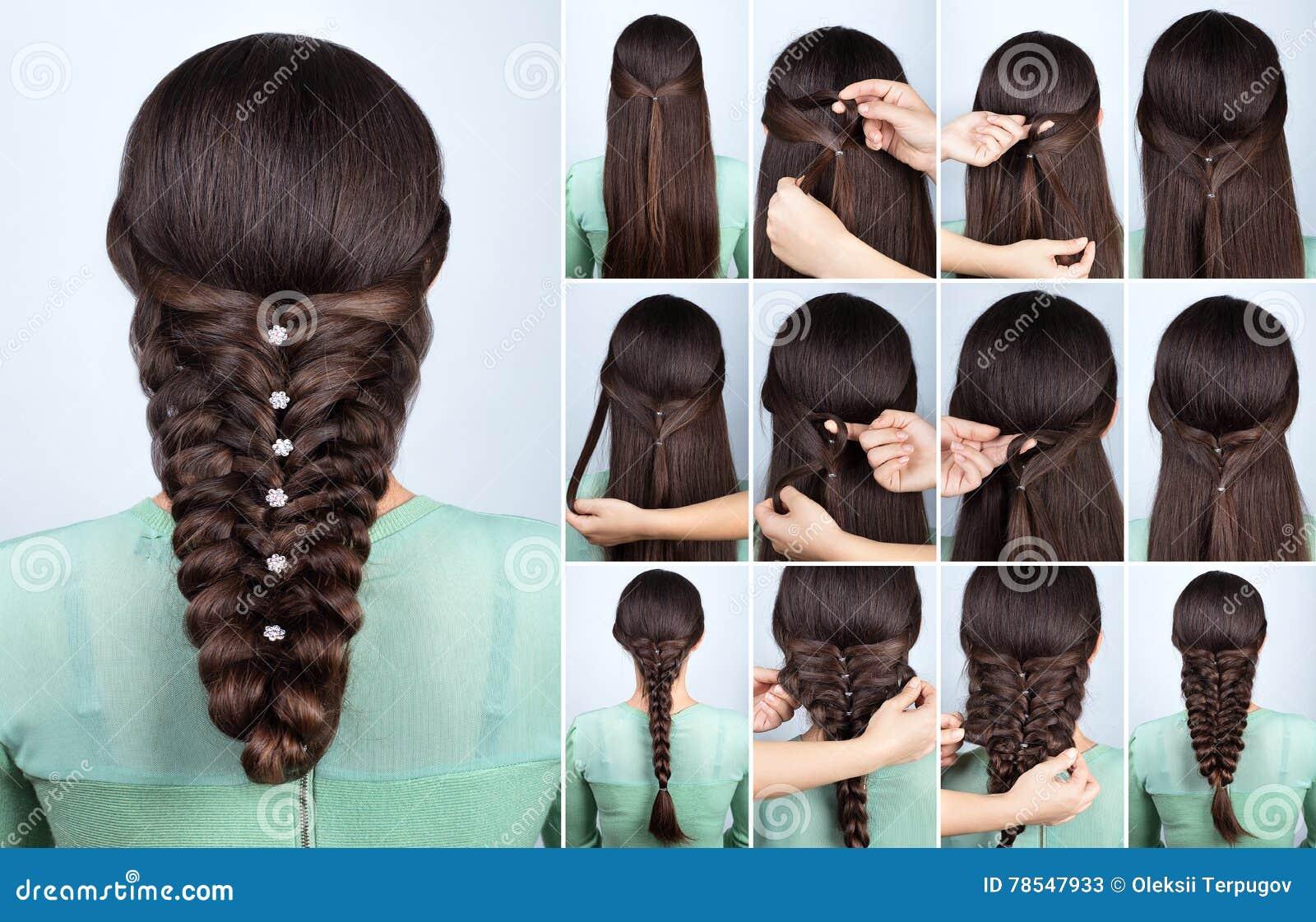 świąteczna Fryzura Dla Długie Włosy Tutorial Obraz Stock