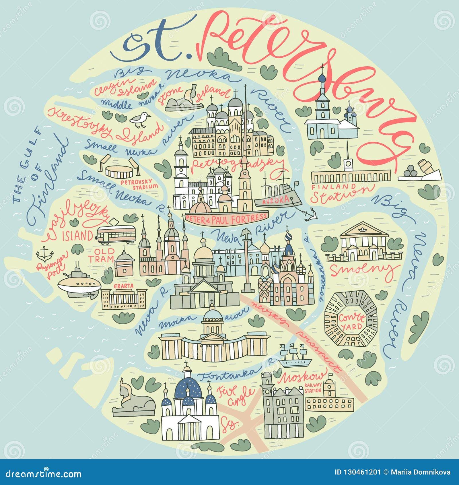 Świątobliwa Petersburg Doodle mapa