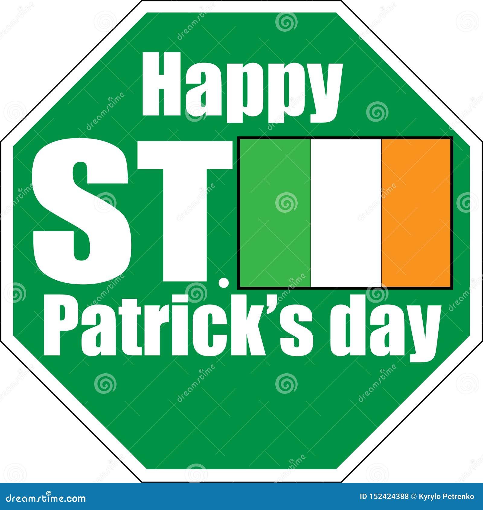 świątobliwy Patrick dnia zieleni znaka bielu tło
