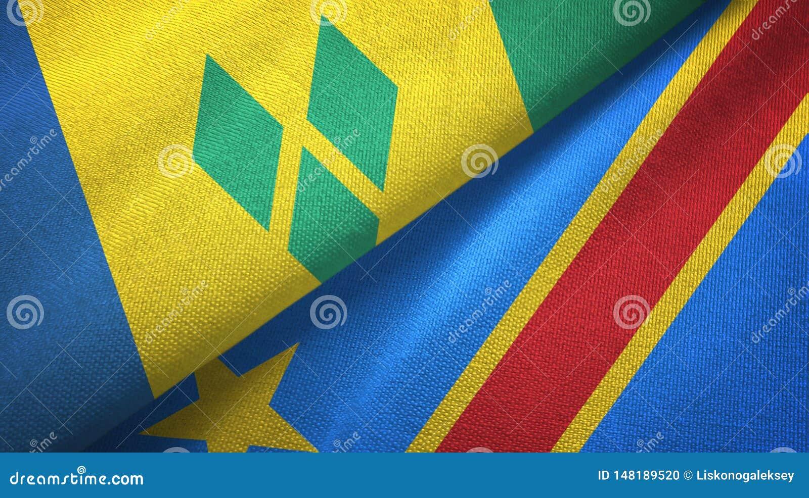 Świątobliwy Vincent Kongo Demokratycznej republiki dwa flagi i grenadyny i