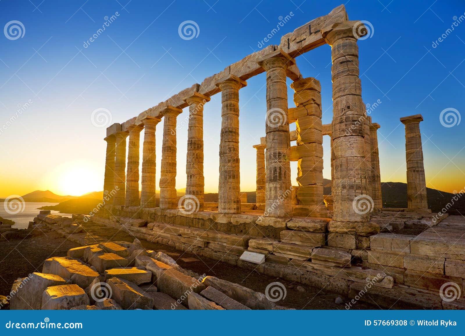Świątynia Poseidon przy przylądkiem Sounion, Grecja