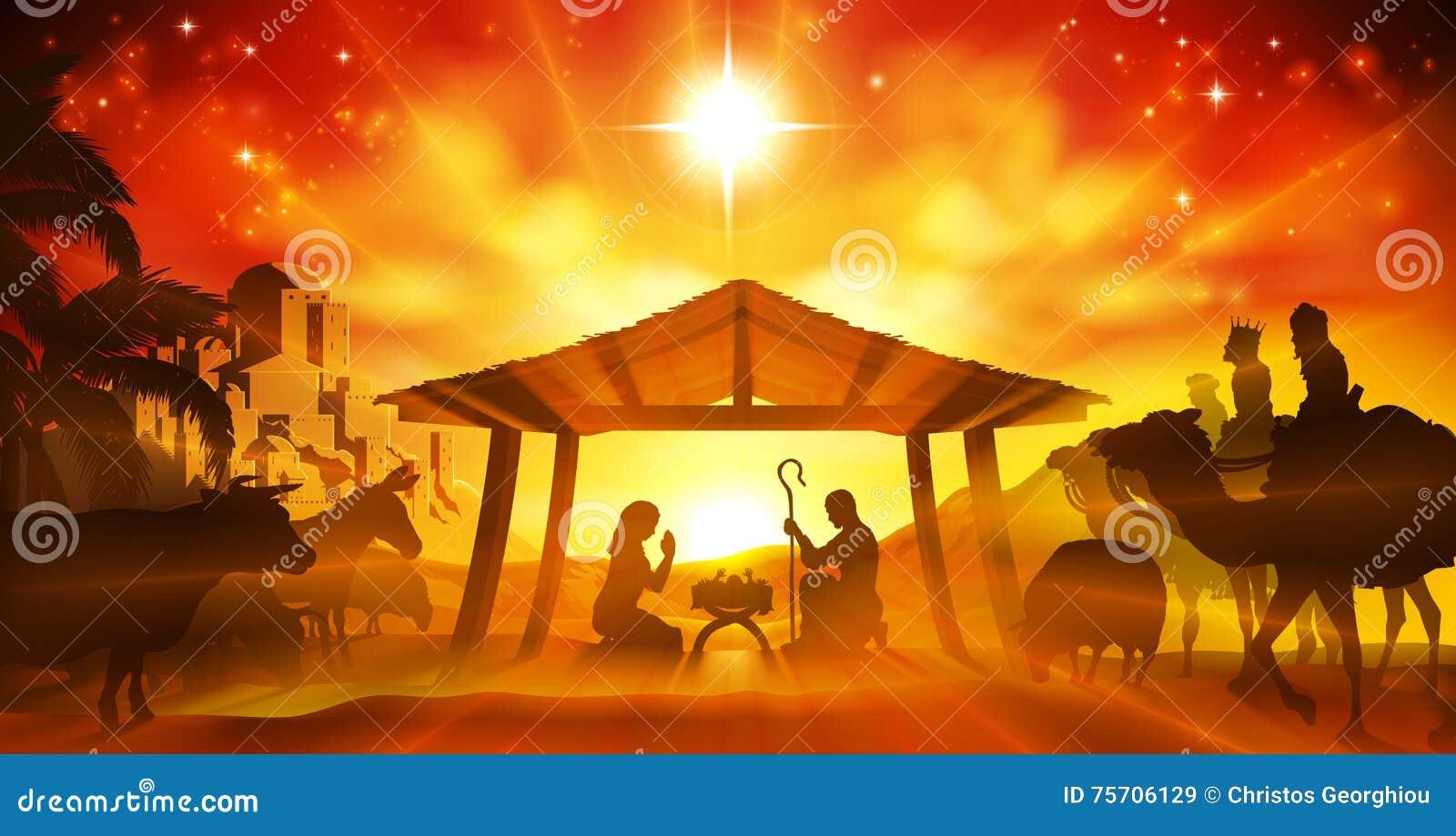 święta bożego narodzenia jezusa sceny ilustracyjny wektora