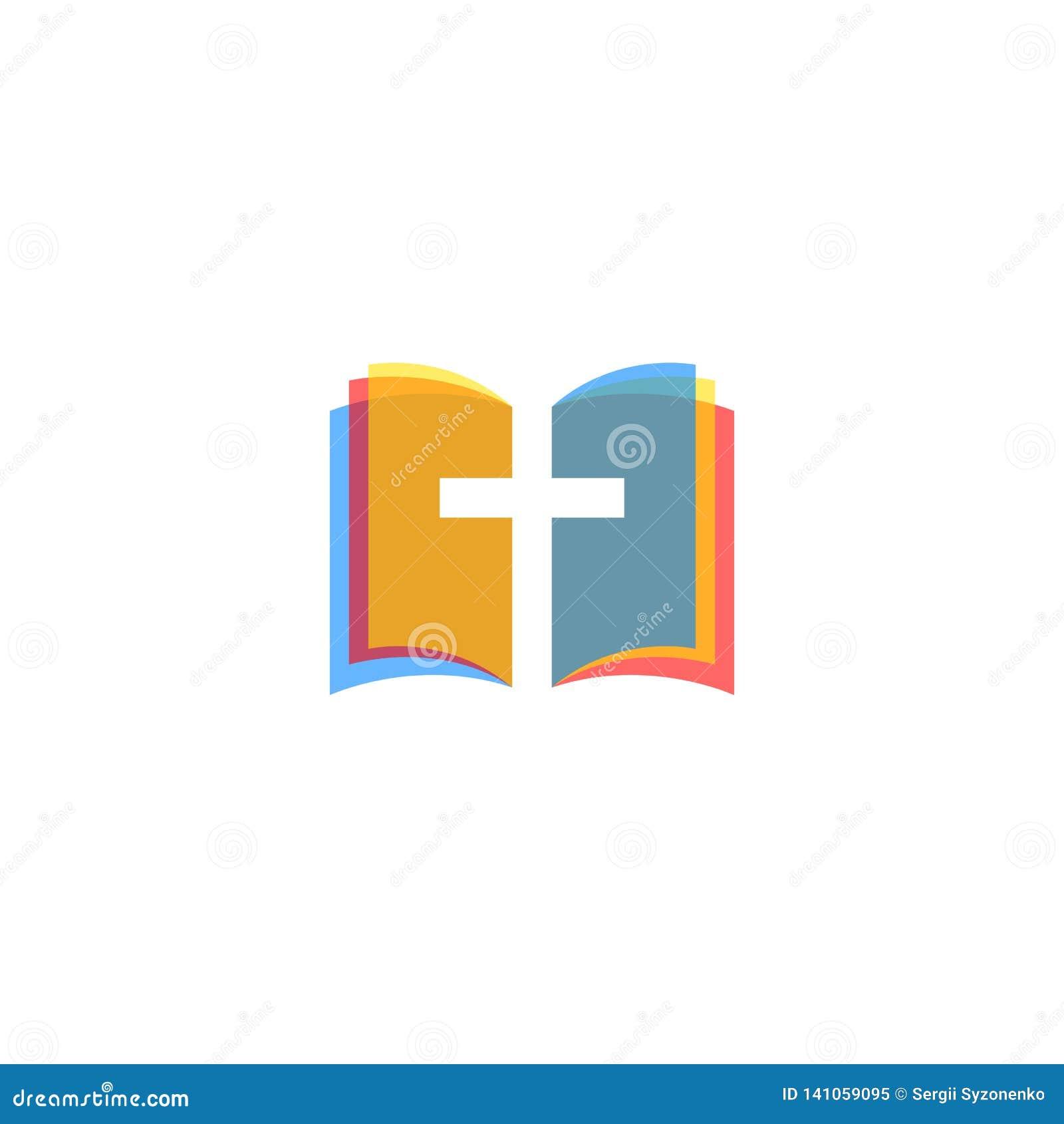 Świętej biblii ikony kolorowe strony, religia logo kościół, ewangelia symbolu mockup